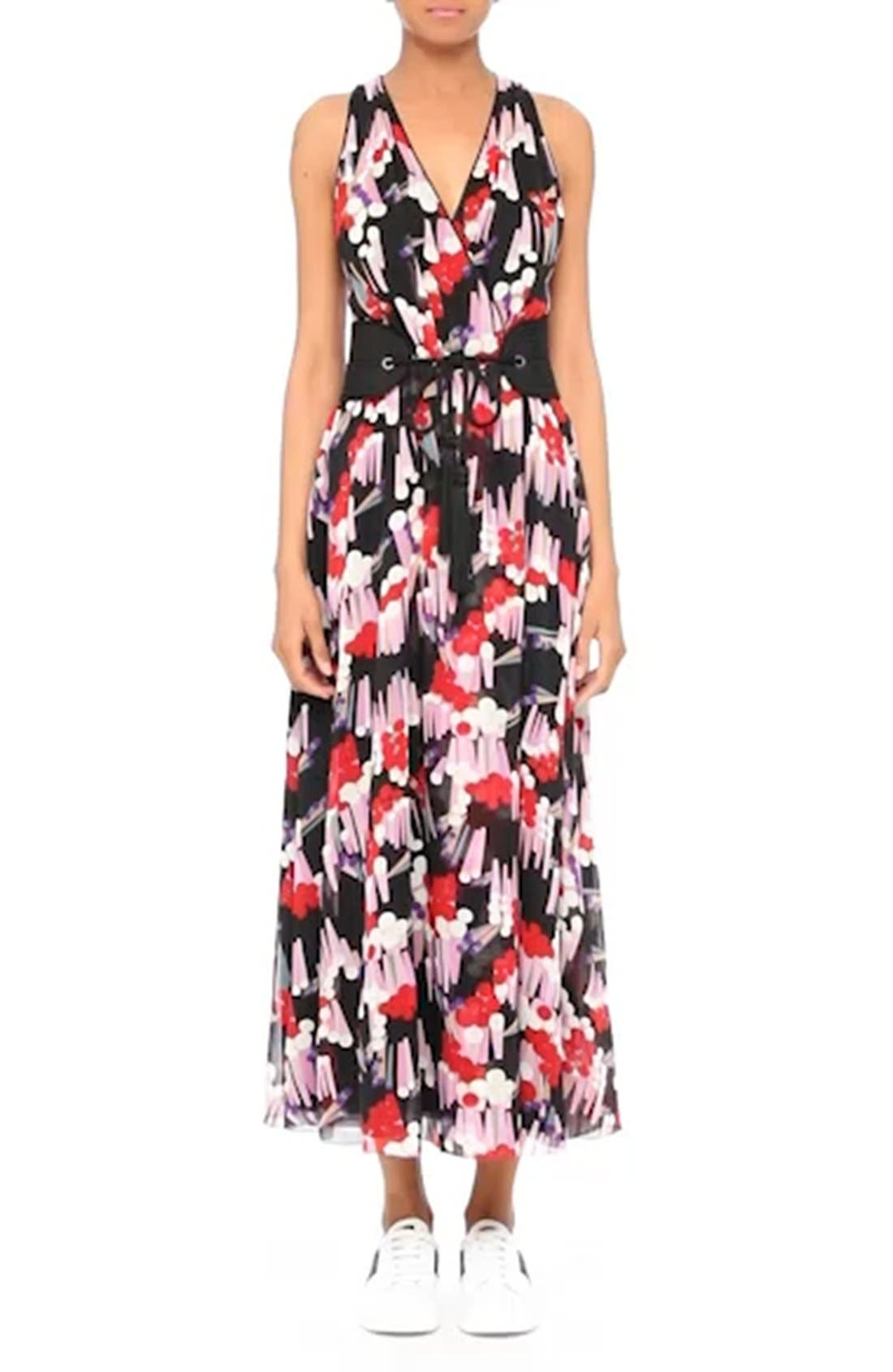 Print Silk Midi Dress,                             Alternate thumbnail 7, color,                             002
