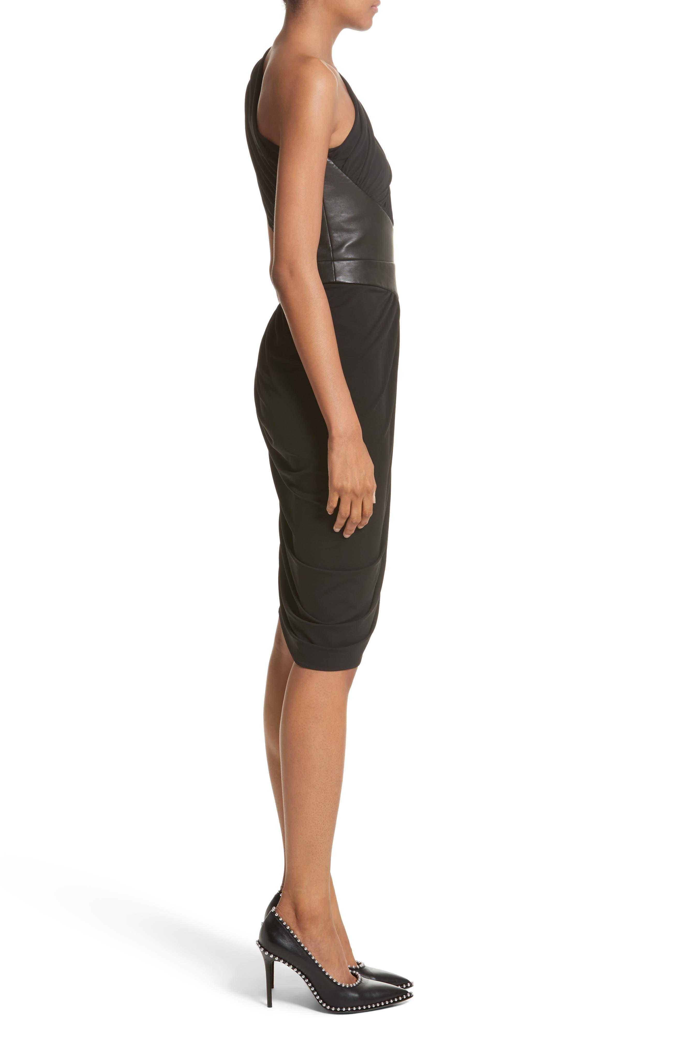 Leather Detail Draped One-Shoulder Dress,                             Alternate thumbnail 3, color,                             001