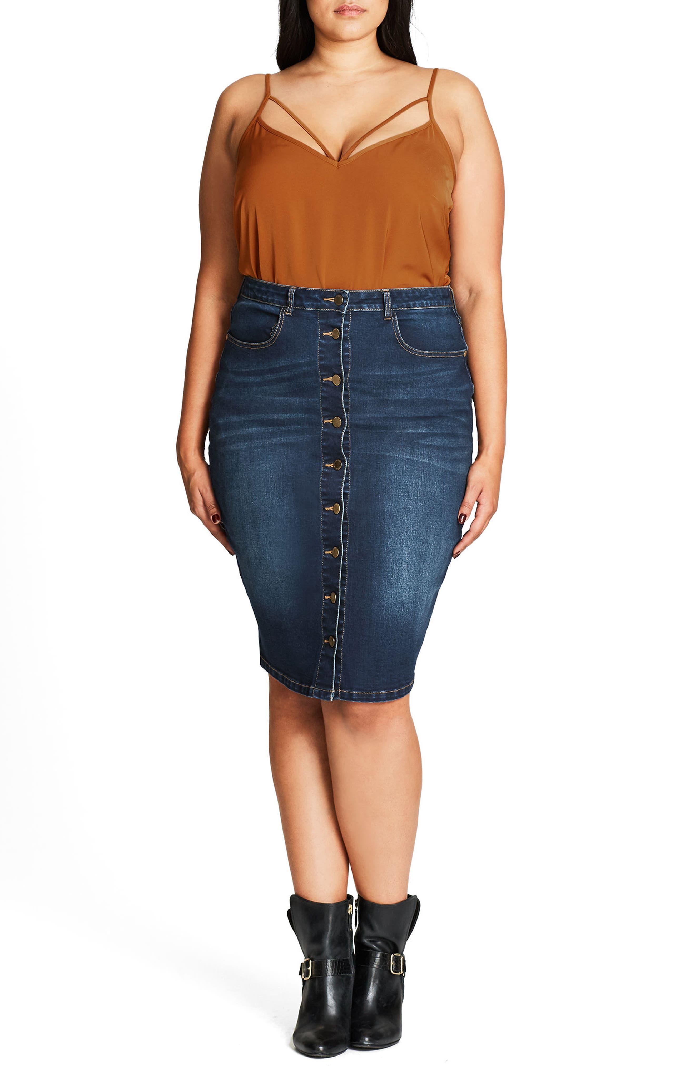 Pin Up Denim Skirt,                             Alternate thumbnail 12, color,