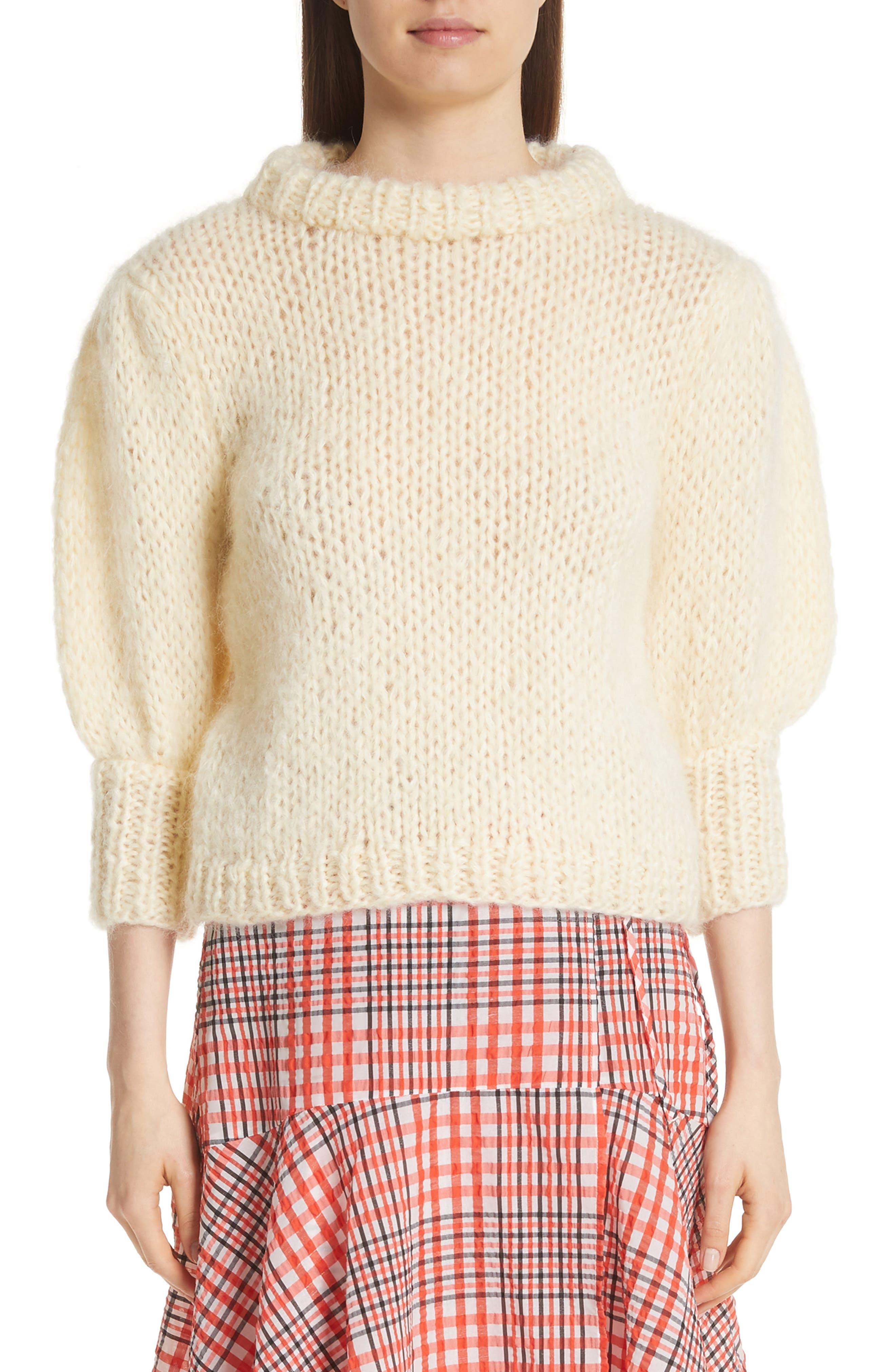 Juilliard Mohair & Wool Puff Sleeve Sweater,                         Main,                         color, 900
