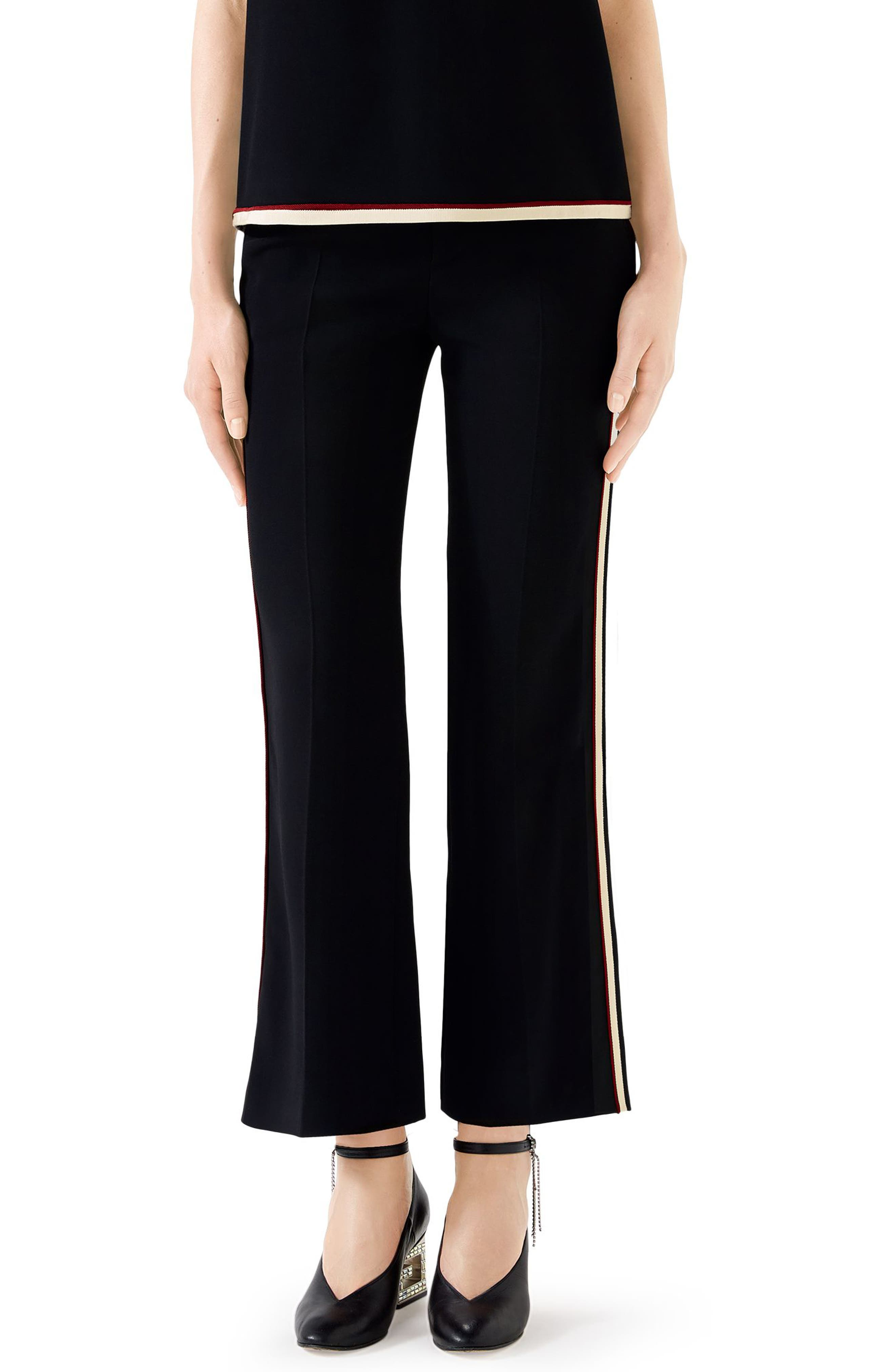 GUCCI,                             Side Stripe Stretch Cady Crop Flare Pants,                             Main thumbnail 1, color,                             BLACK