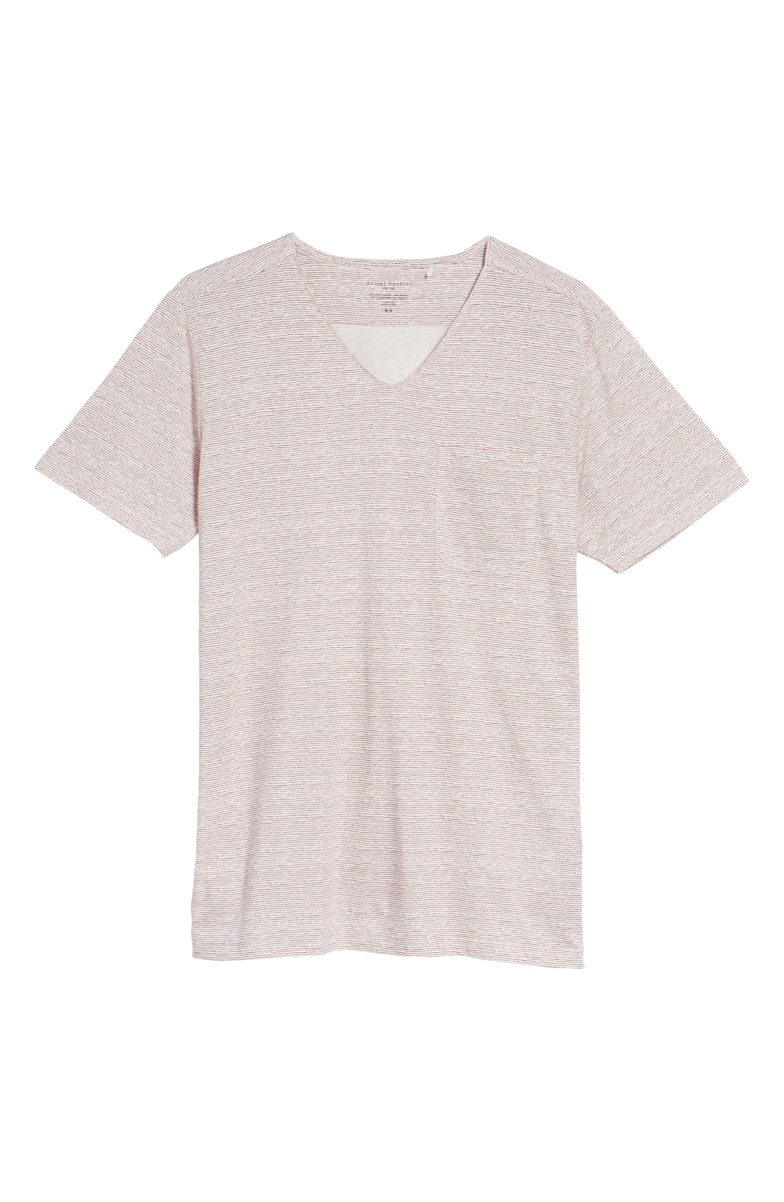 Feeder Stripe Pima Cotton & Modal V-Neck T-Shirt,                             Alternate thumbnail 18, color,