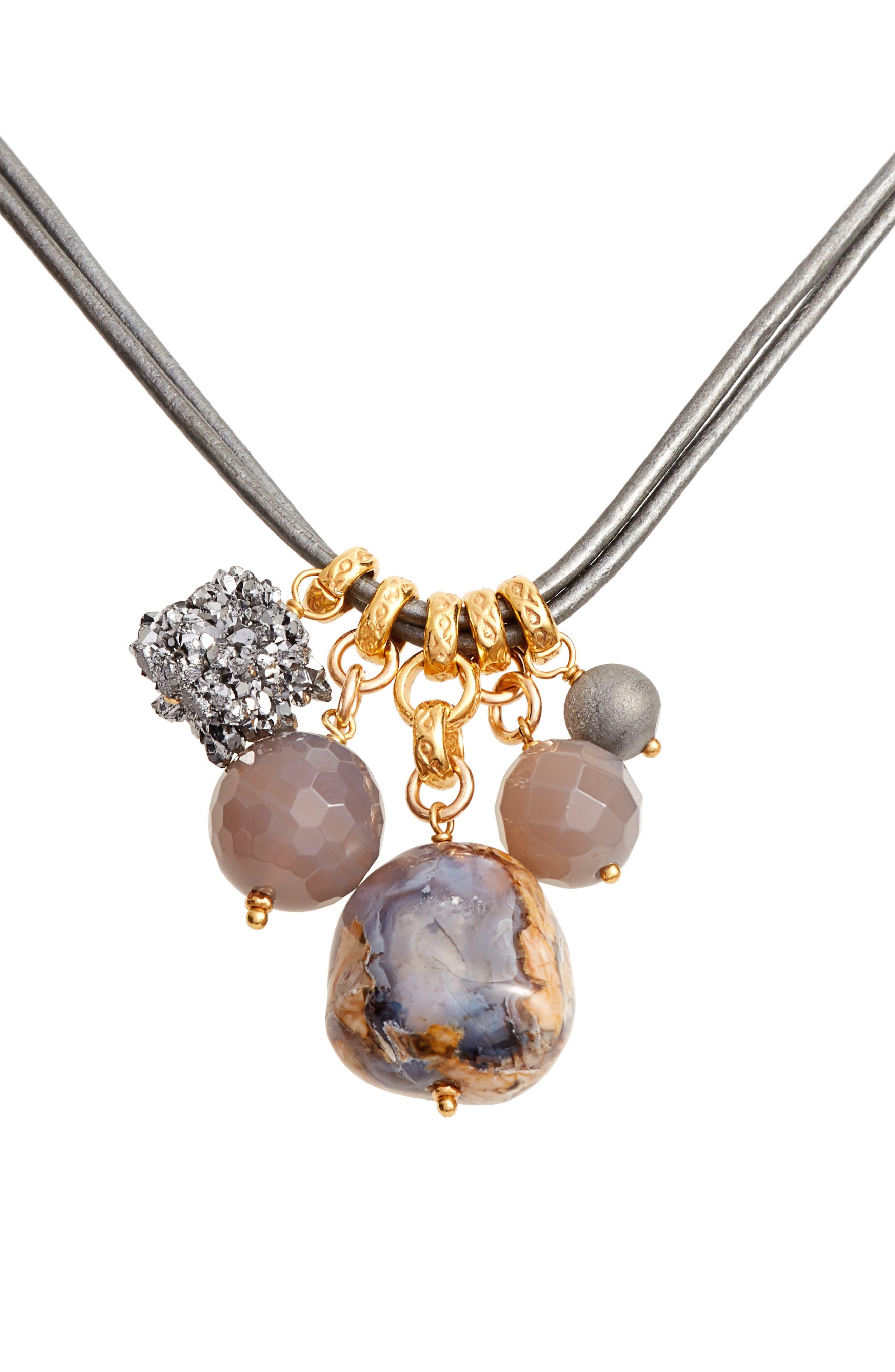 Multistone Short Necklace,                         Main,                         color, 020