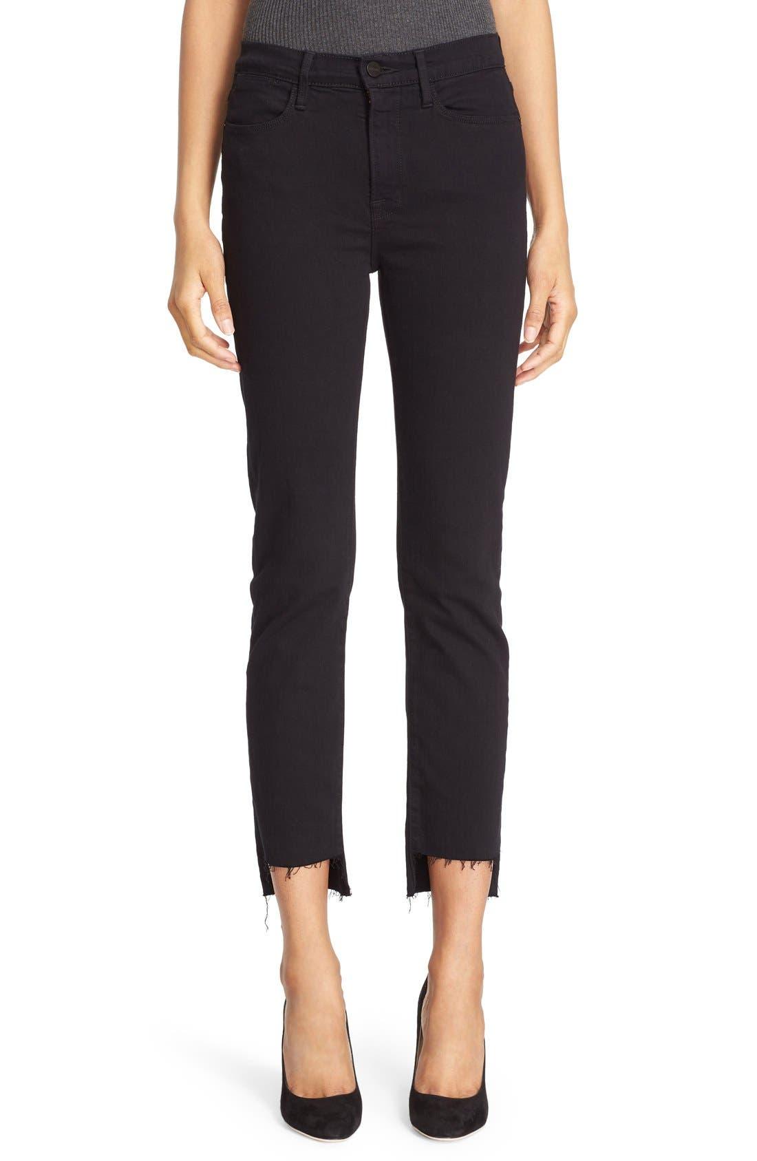 Le High Straight High Waist Staggered Hem Jeans,                         Main,                         color,