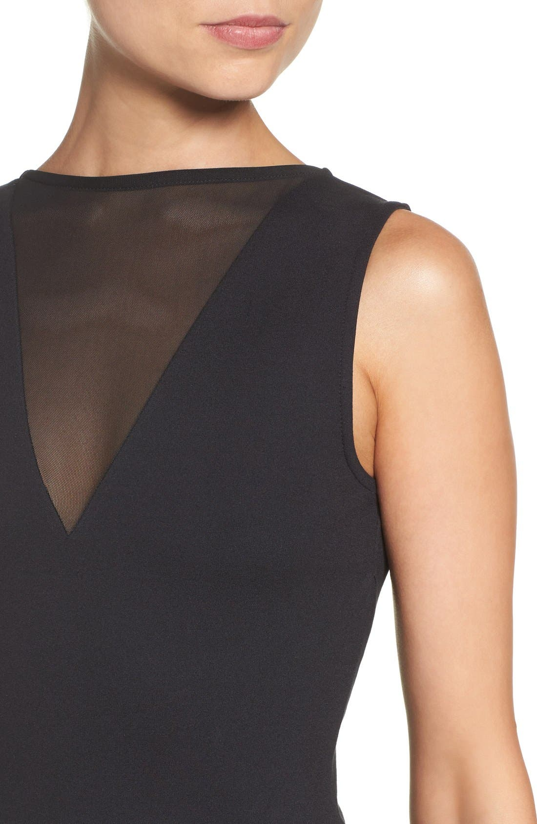 'Viola' Stretch Fit & Flare Dress,                             Alternate thumbnail 5, color,                             001