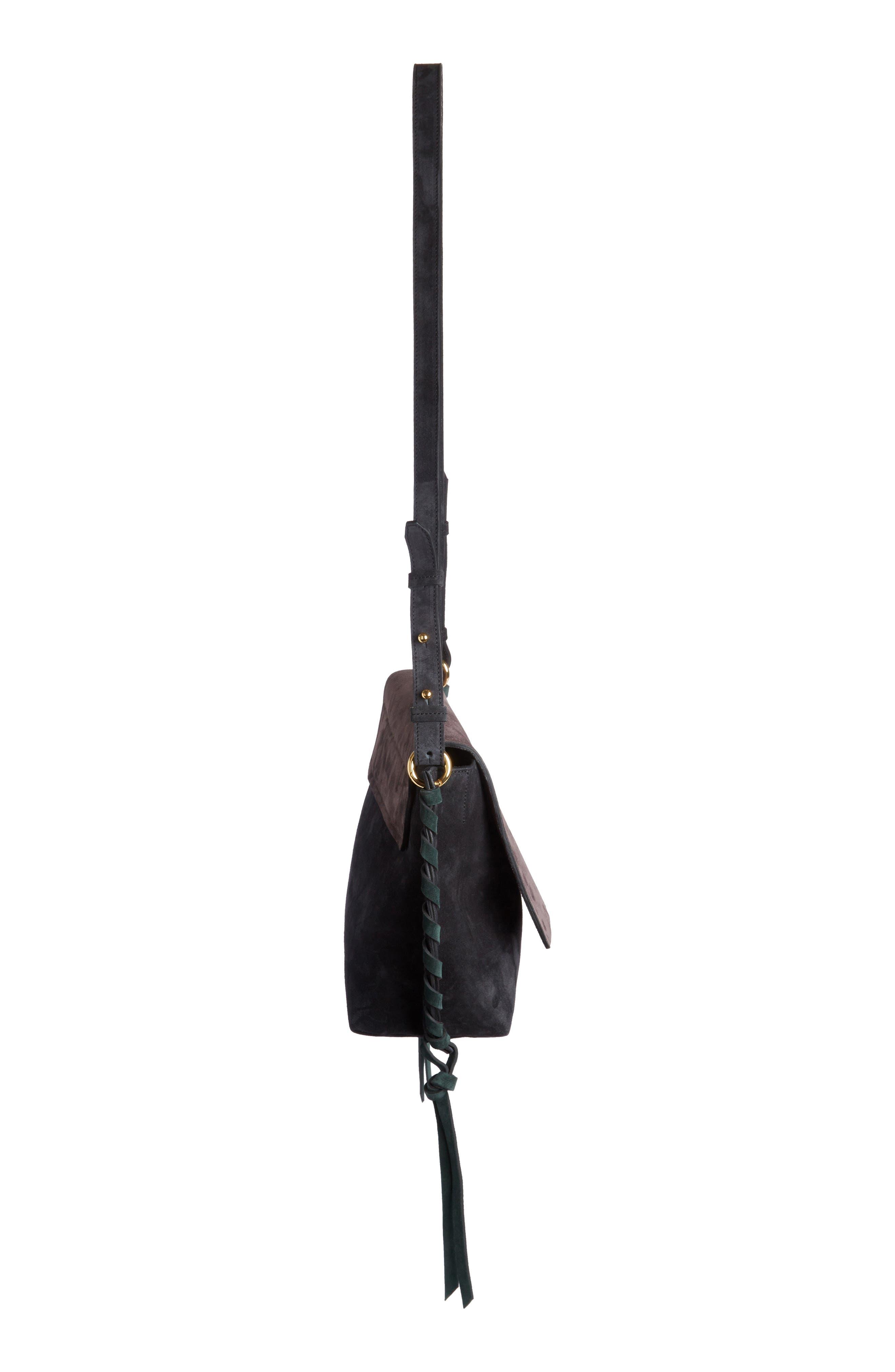 Asli Colorblock Suede Shoulder Bag,                             Alternate thumbnail 3, color,                             002
