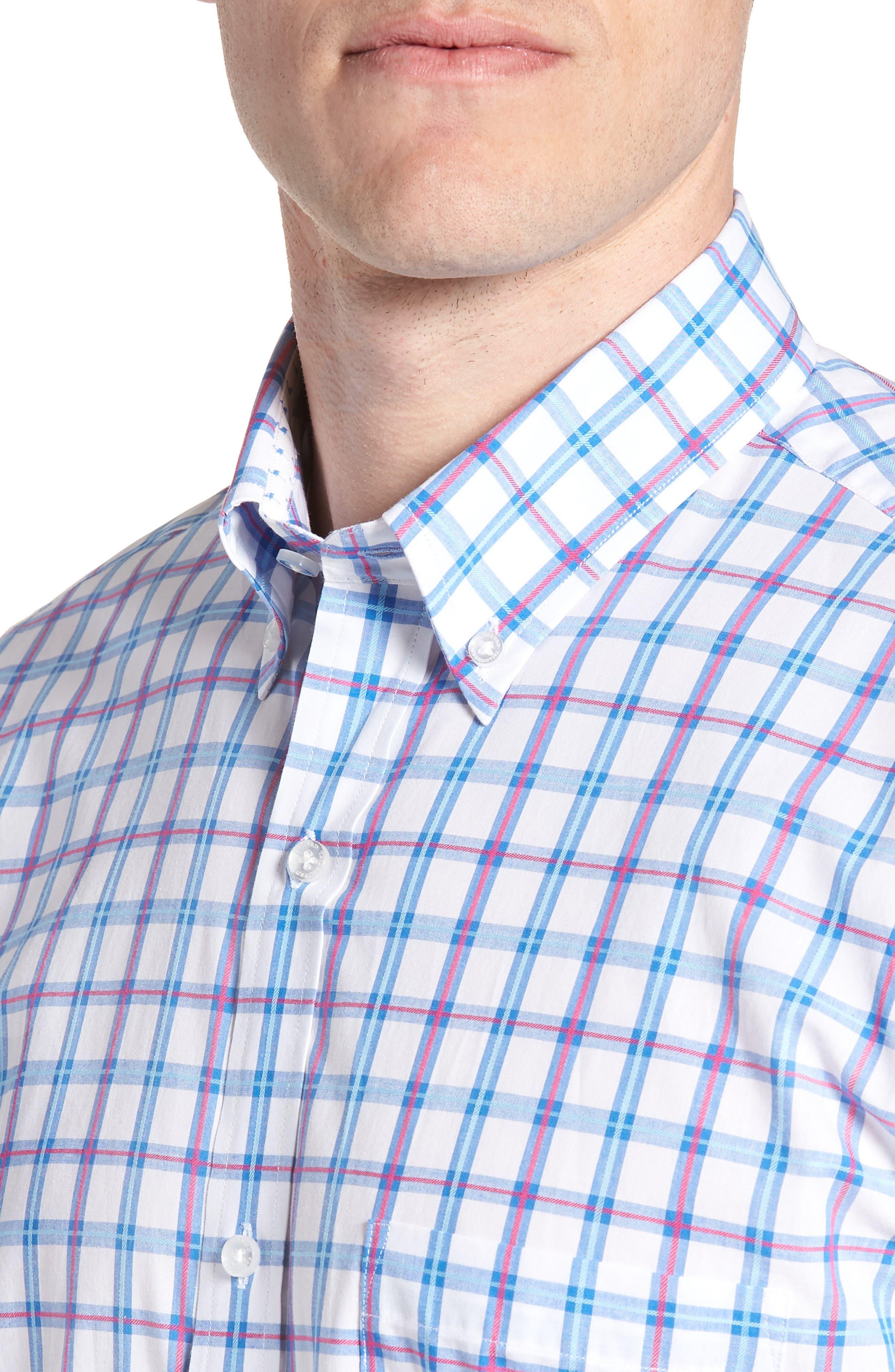Arman Regular Fit Windowpane Sport Shirt,                             Alternate thumbnail 4, color,                             450