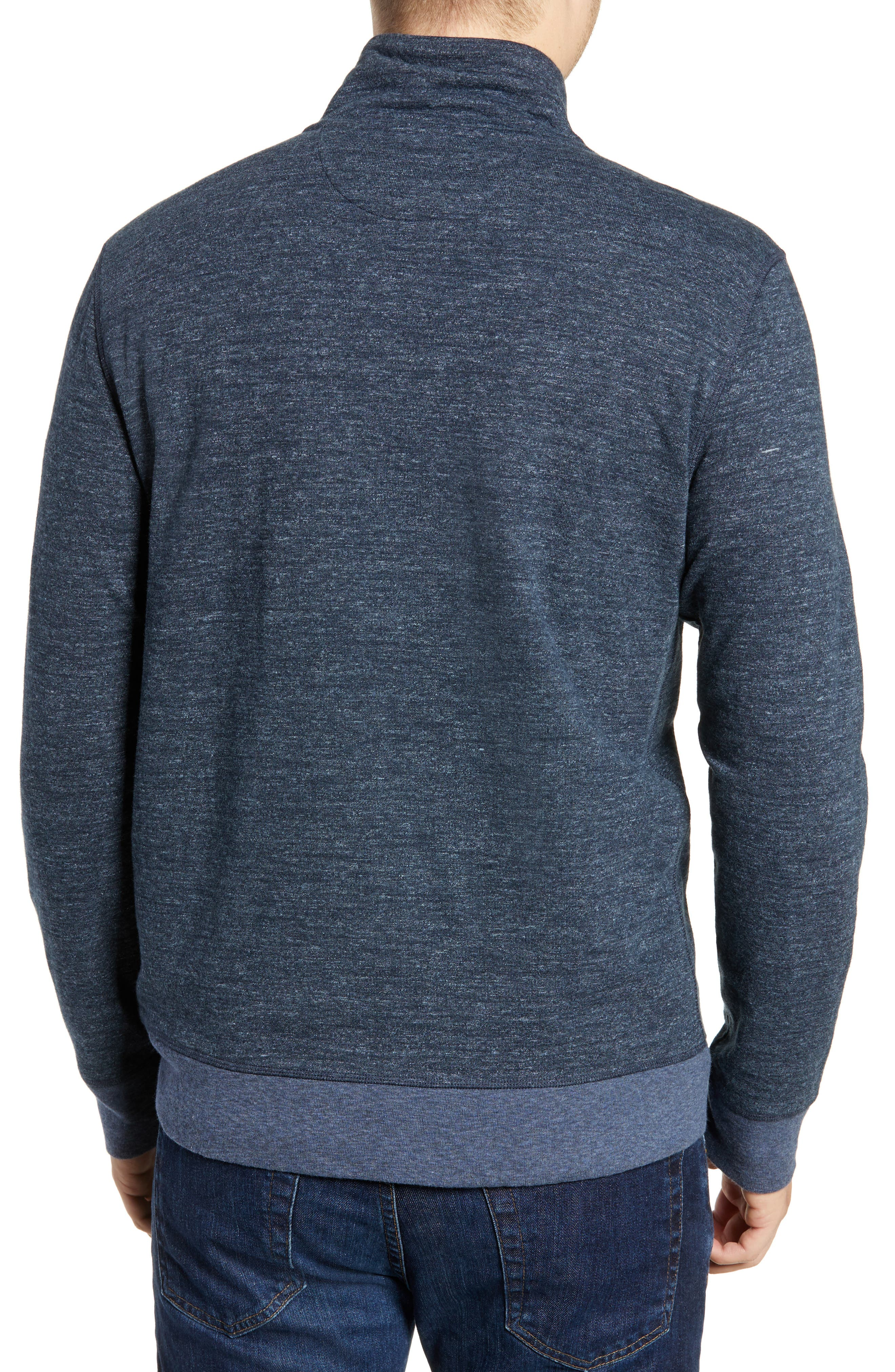 Brand Dual Knit Regular Fit Quarter Zip Pullover,                             Alternate thumbnail 2, color,                             NAVY