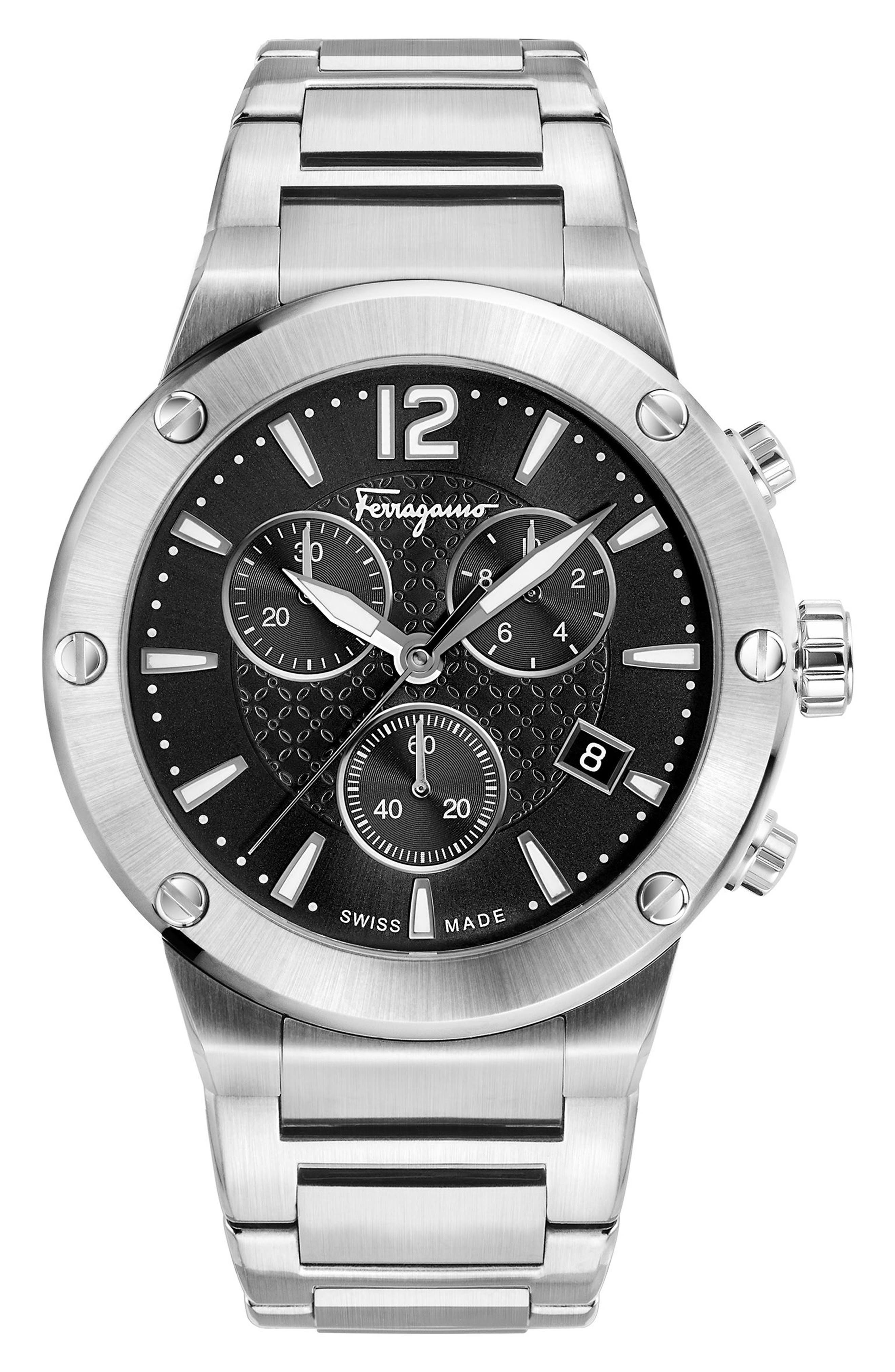 F80 Chronograph Bracelet Watch, 44mm,                             Main thumbnail 1, color,                             SILVER/ BLACK/ SILVER