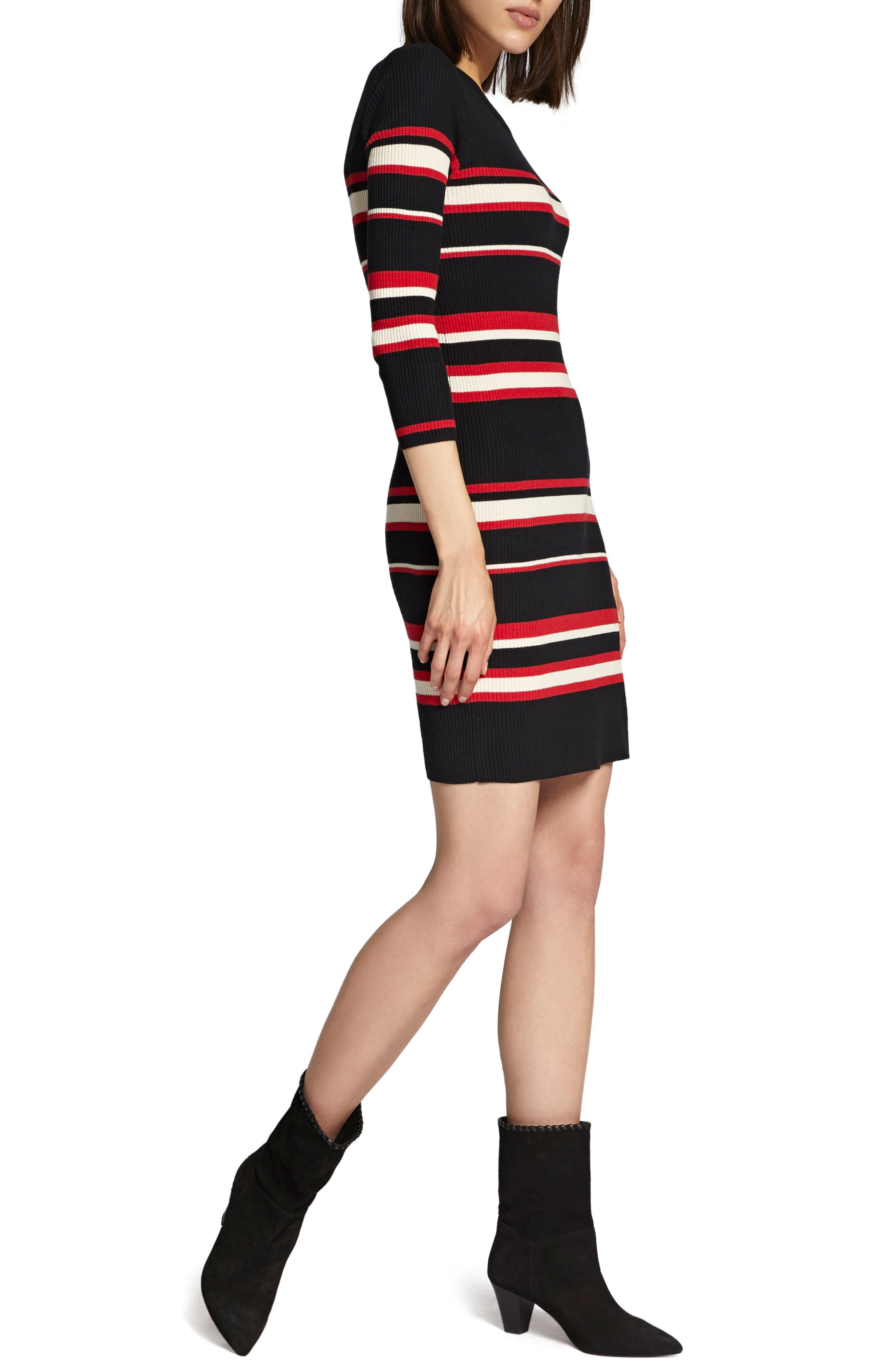 Trailblaze Body-Con Cotton Blend Sweater Dress,                             Alternate thumbnail 4, color,                             MULTI STRIPE
