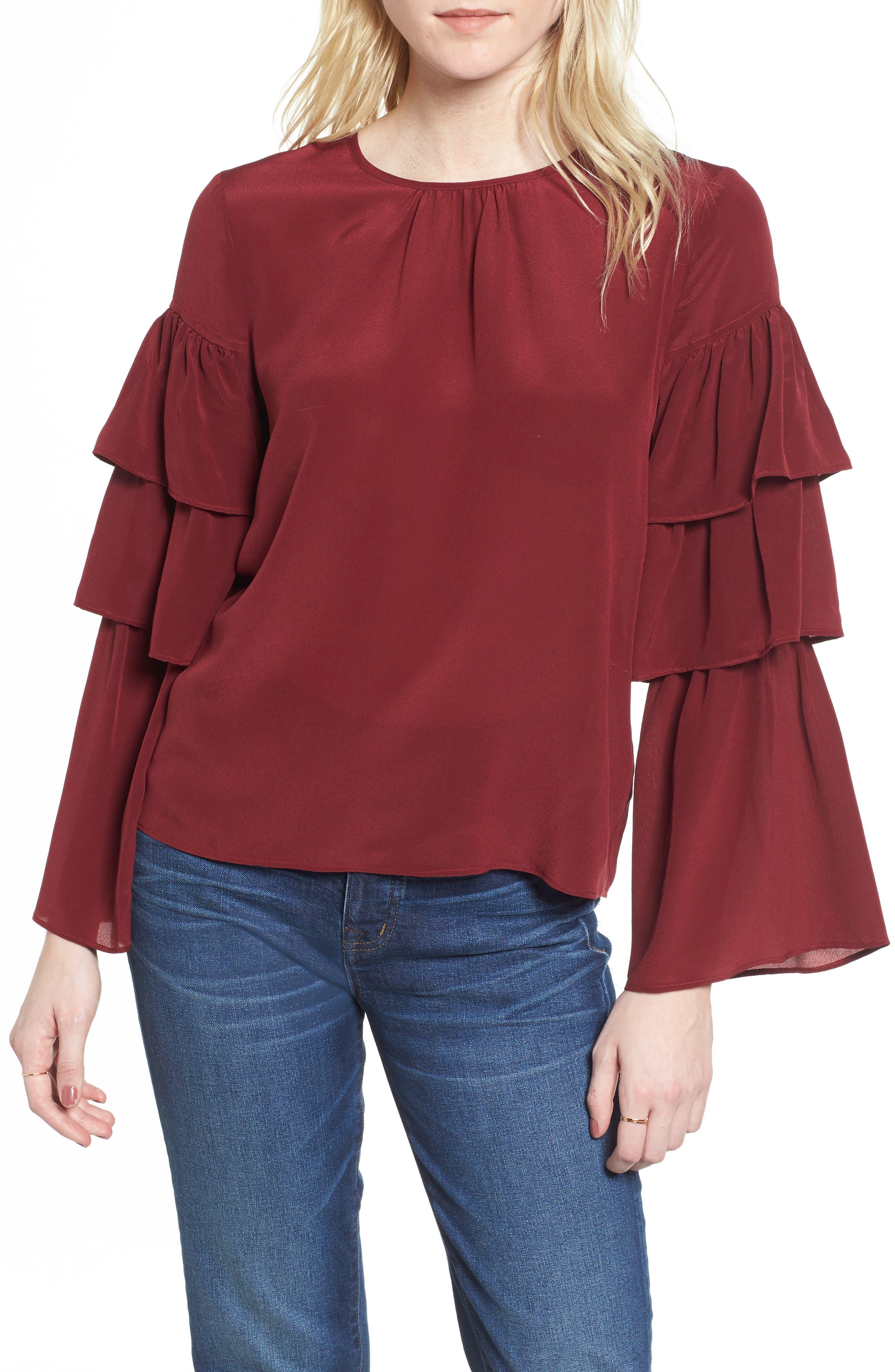 Ruffle Sleeve Silk Top,                             Main thumbnail 1, color,                             930