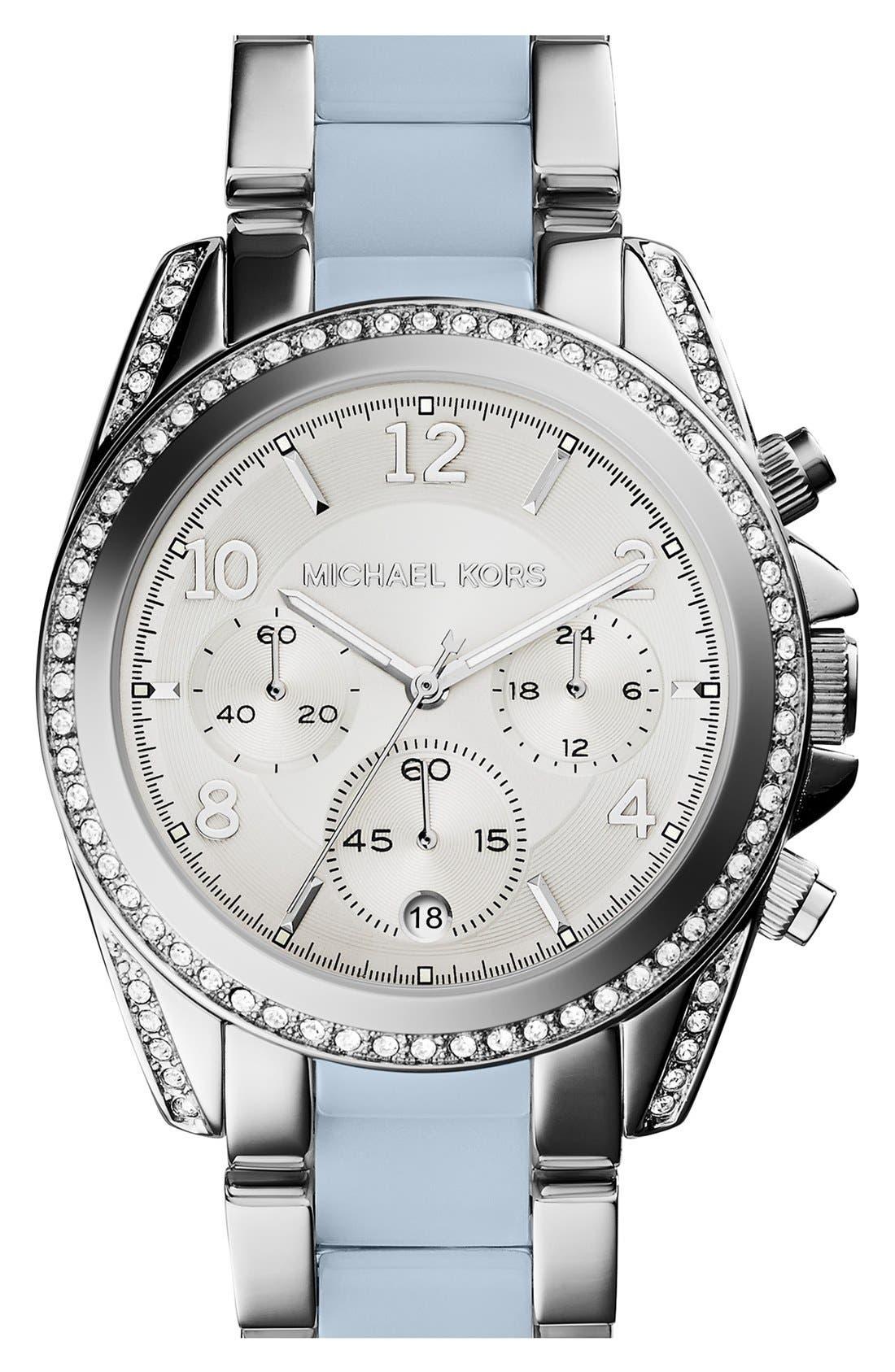 MICHAEL KORS,                             'Blair' Crystal Bezel Two-Tone Bracelet Watch, 39mm,                             Main thumbnail 1, color,                             040