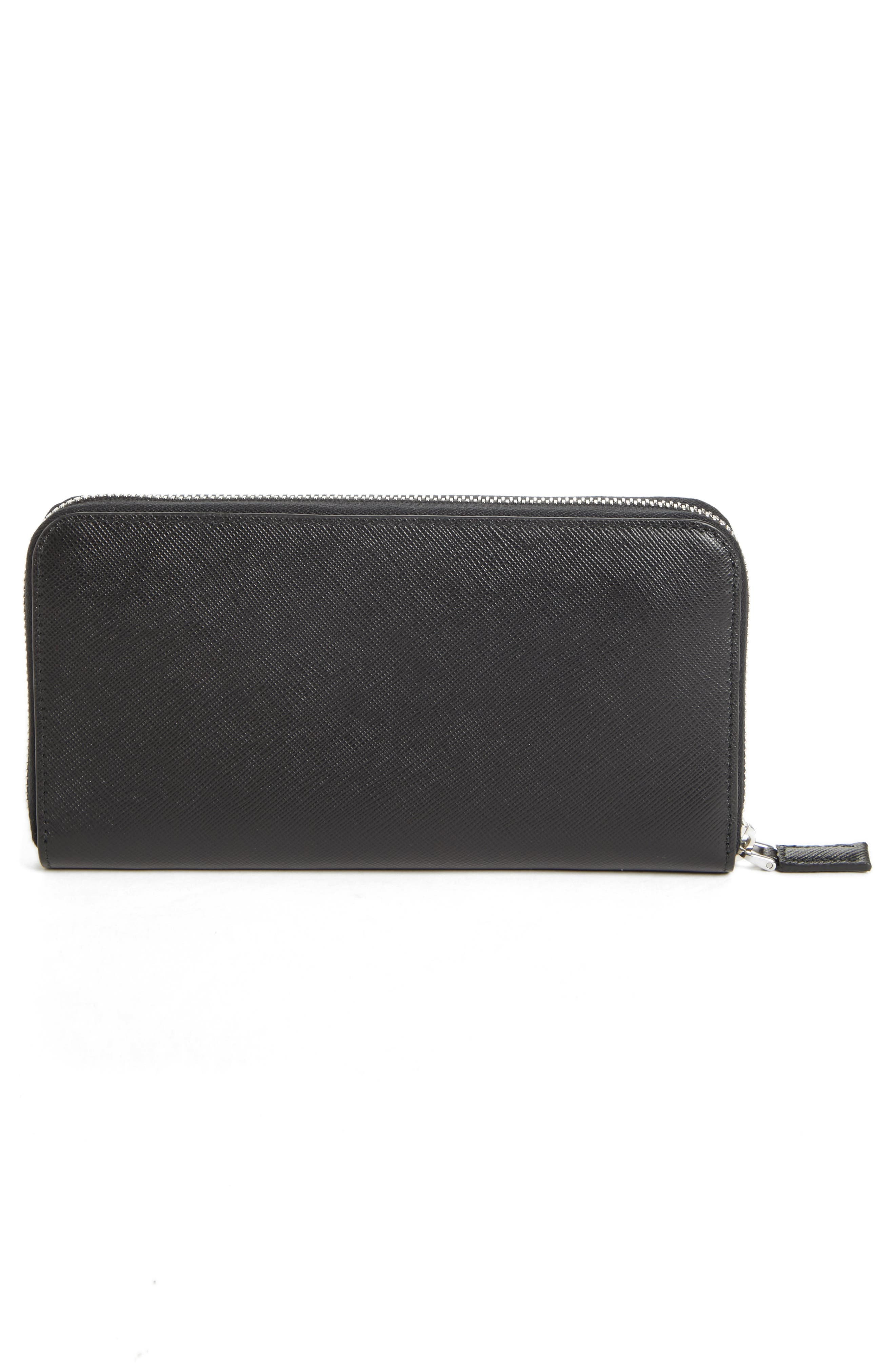 Long Zip Around Saffiano Leather Wallet,                             Alternate thumbnail 4, color,                             BLACK