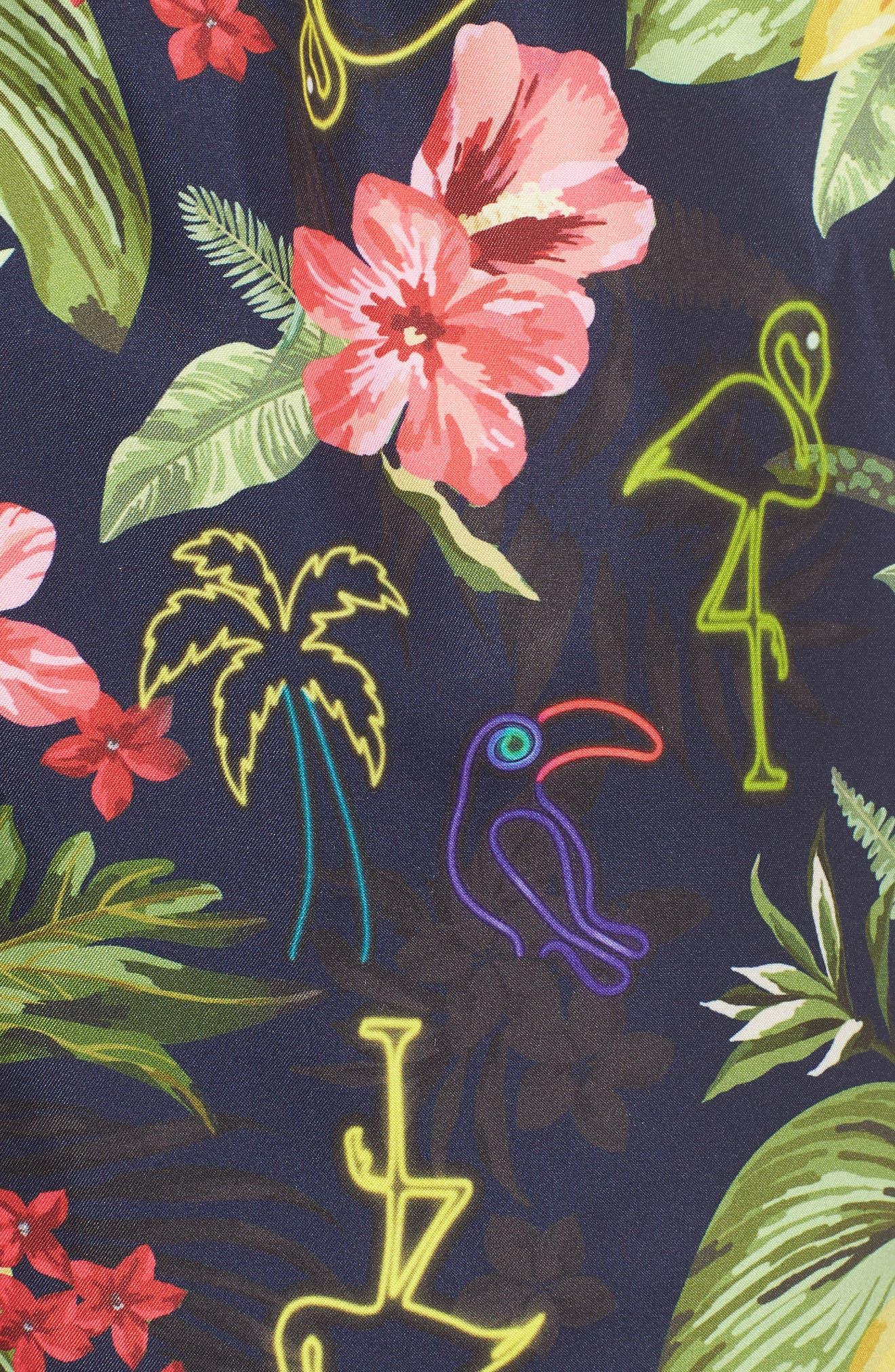 Sano Print Swim Trunks,                             Alternate thumbnail 5, color,                             NEON HAWAIIAN