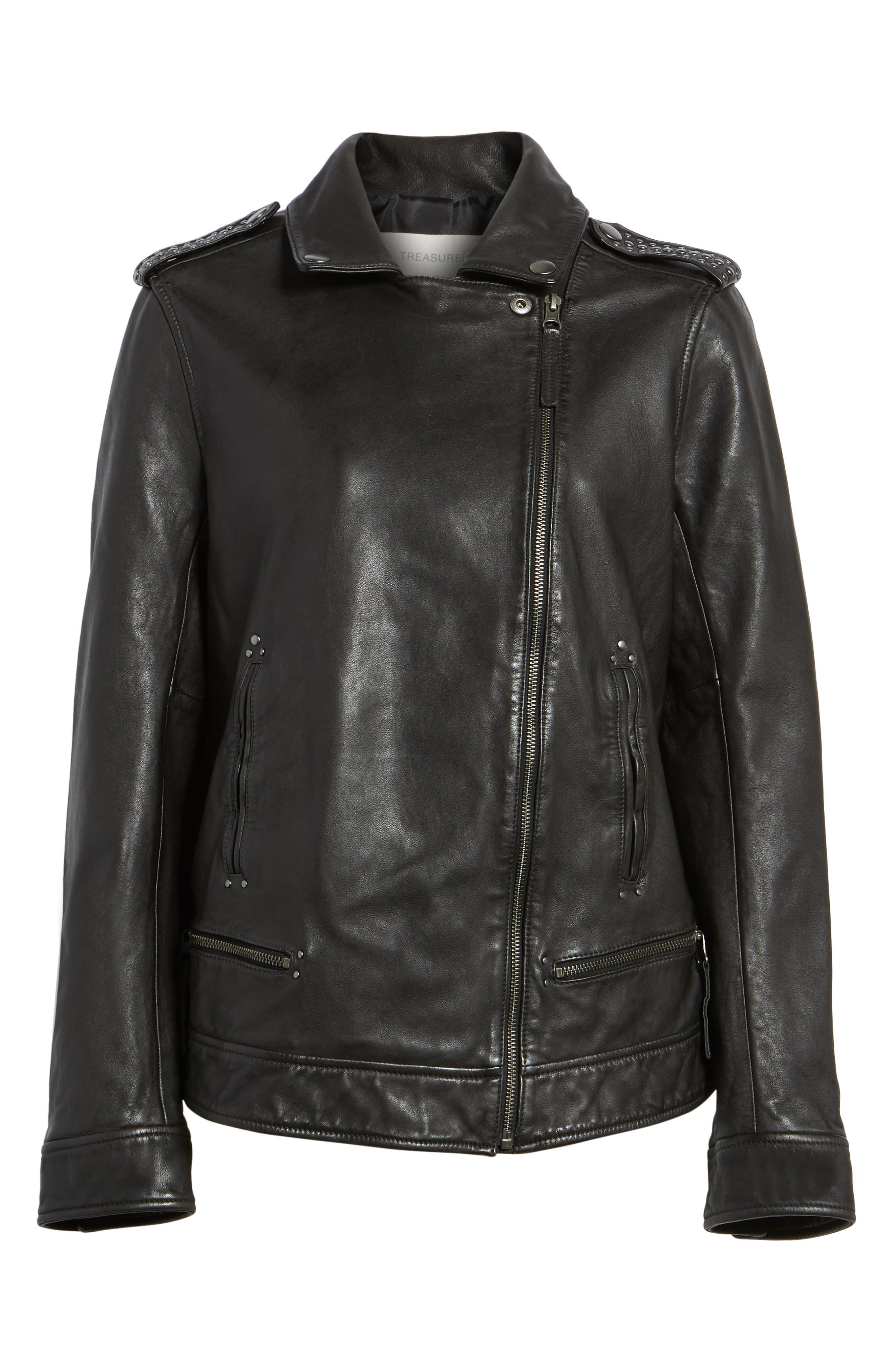 Studded Leather Jacket,                             Alternate thumbnail 5, color,