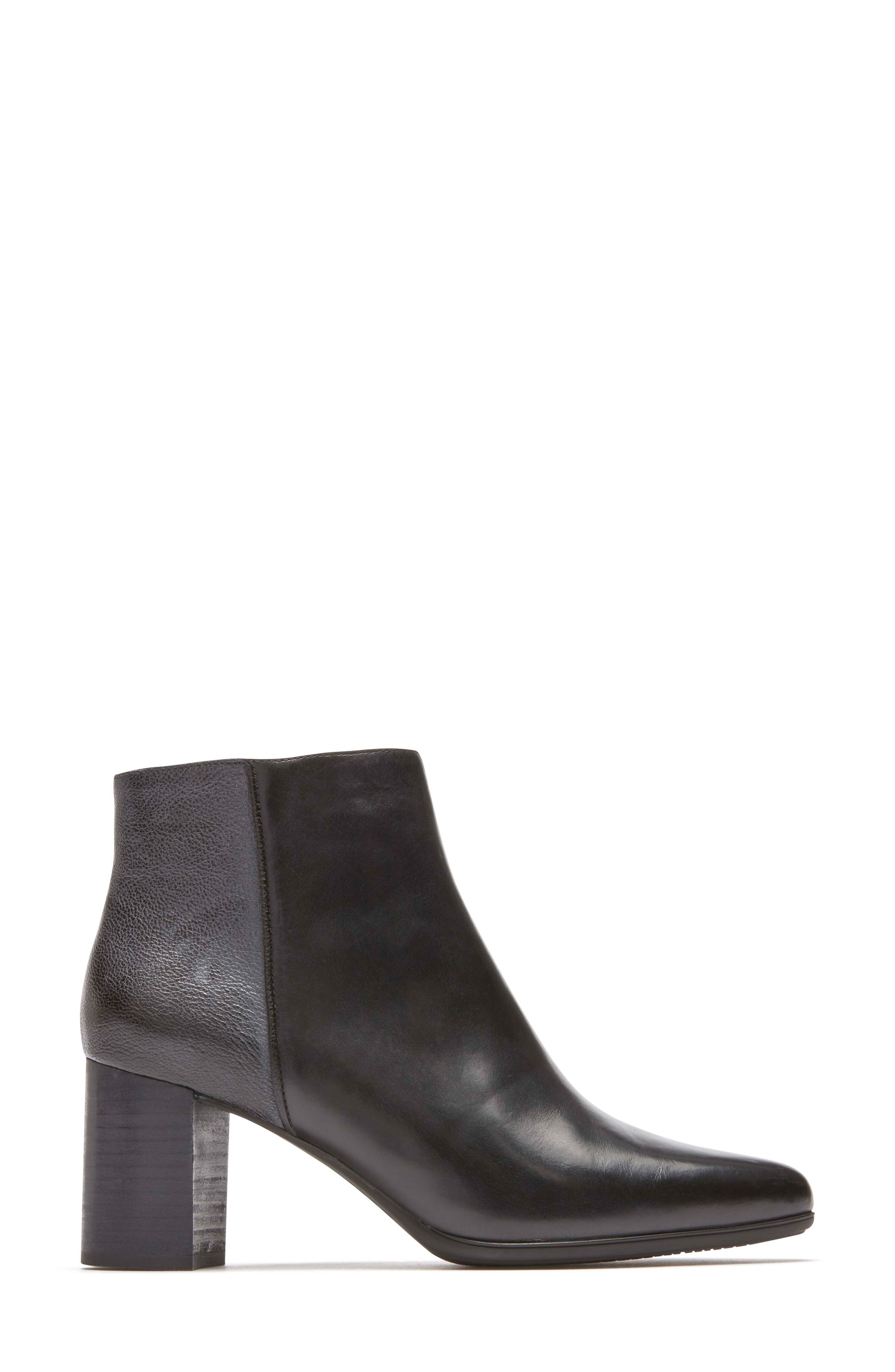 Lynix Luxe Bootie,                             Alternate thumbnail 3, color,                             BLACK LEATHER