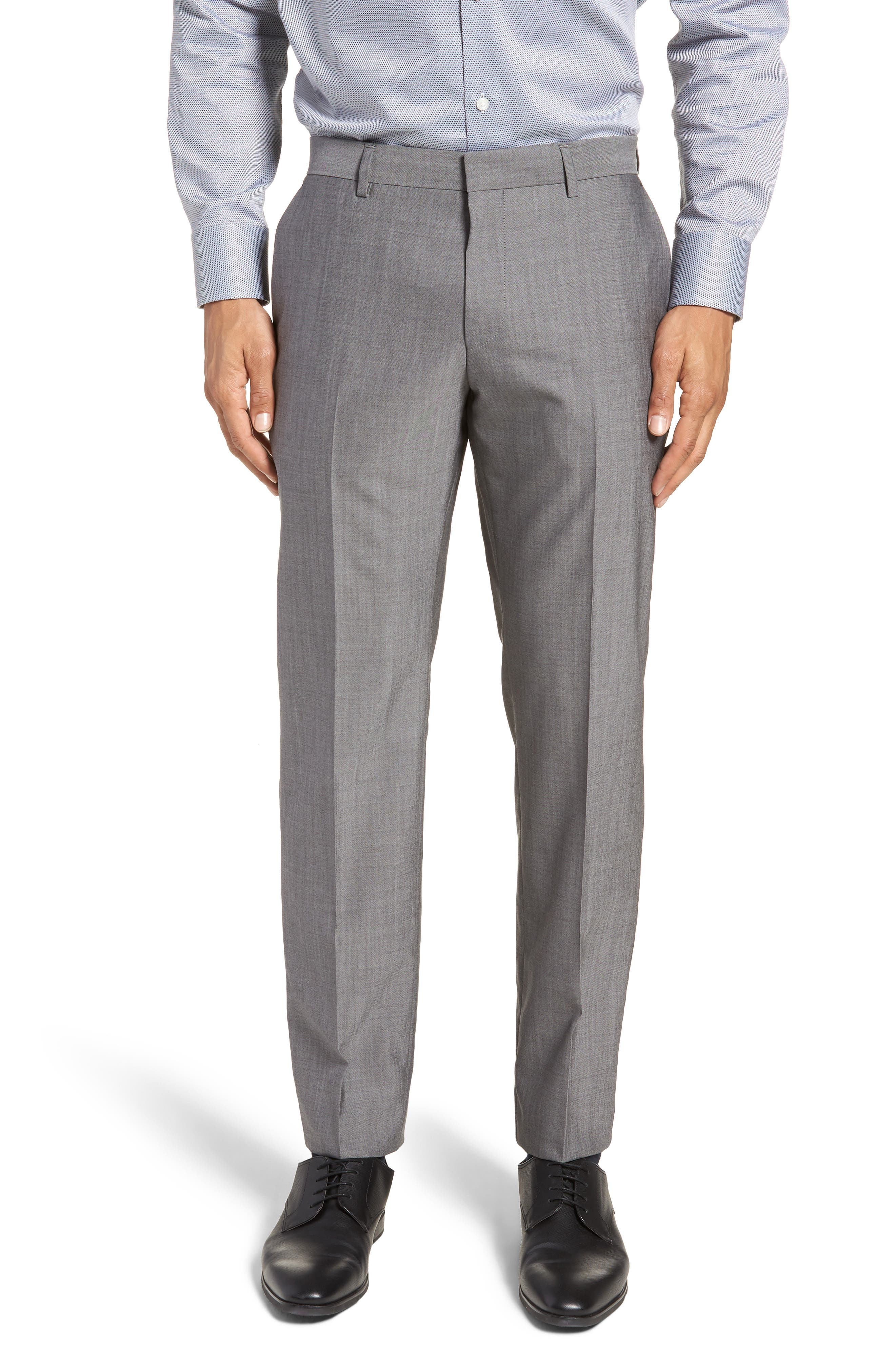 Genesis Flat Front Solid Wool Trousers,                         Main,                         color, GREY