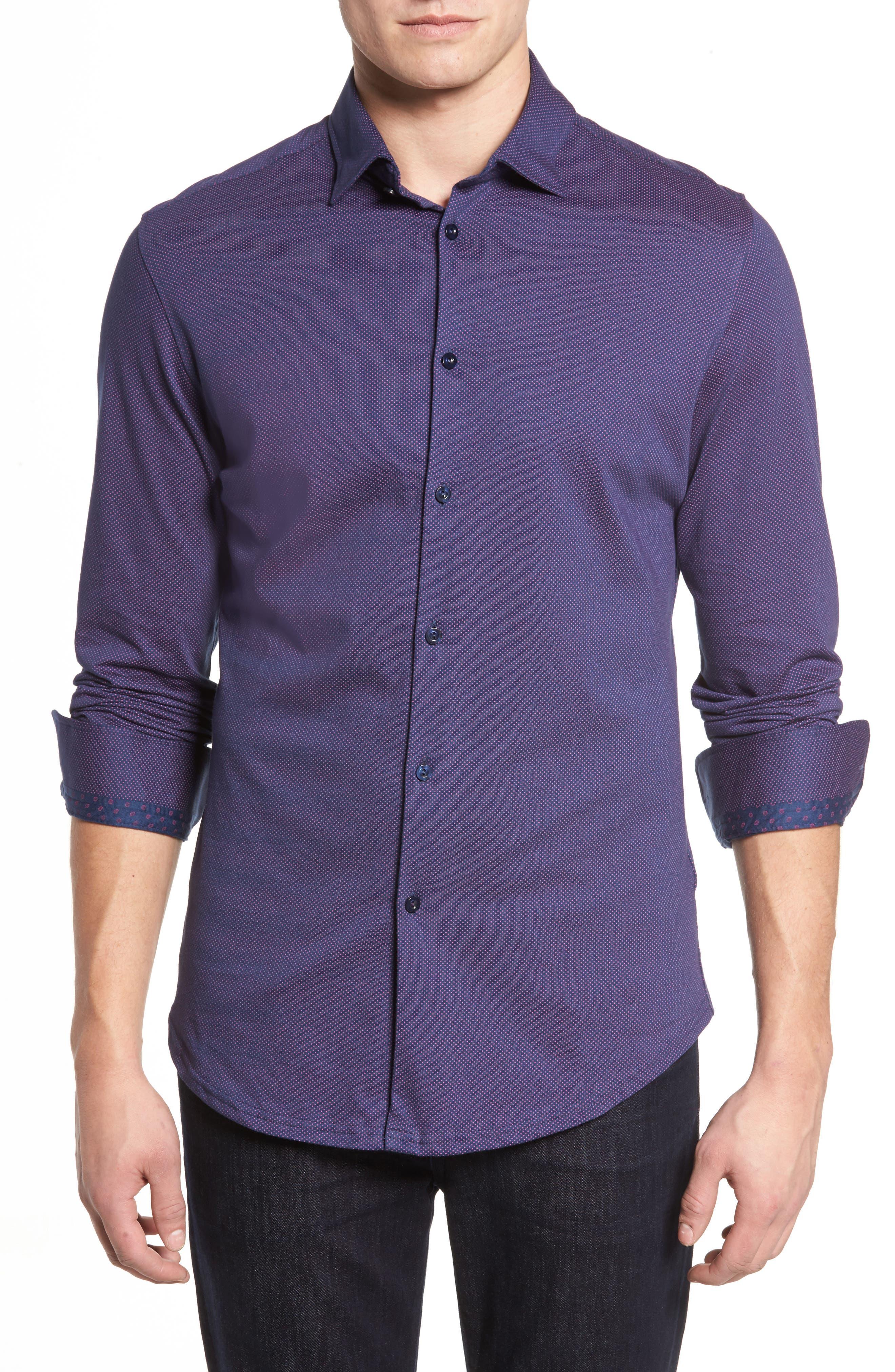 Slim Fit Micro Dot Knit Sport Shirt,                         Main,                         color, 001
