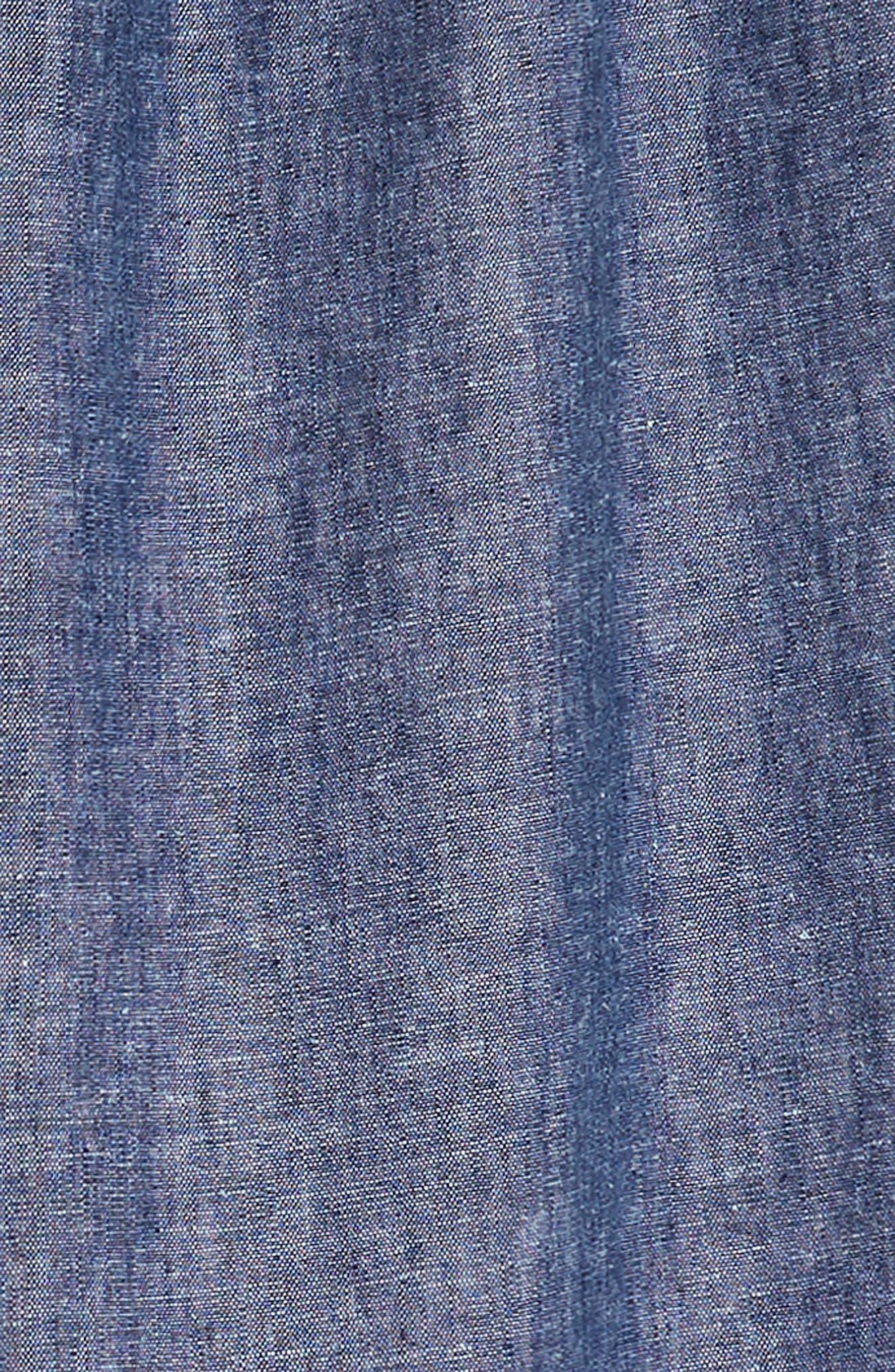 Chambray Ruffle Neck Dress,                             Alternate thumbnail 3, color,                             411