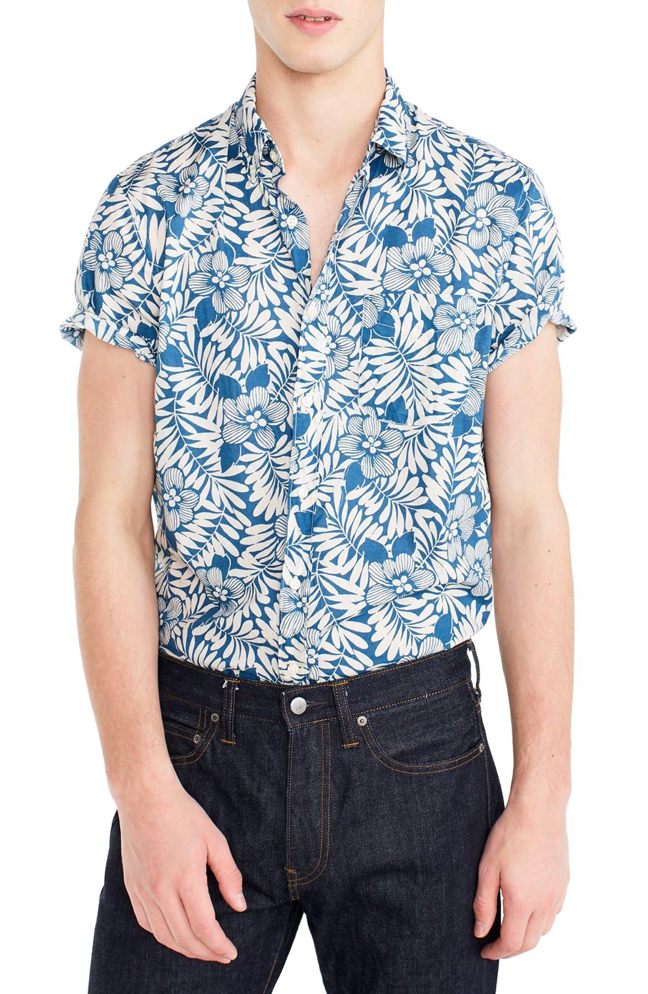 Secret Wash Short Sleeve Fern Print Sport Shirt,                         Main,                         color, 400