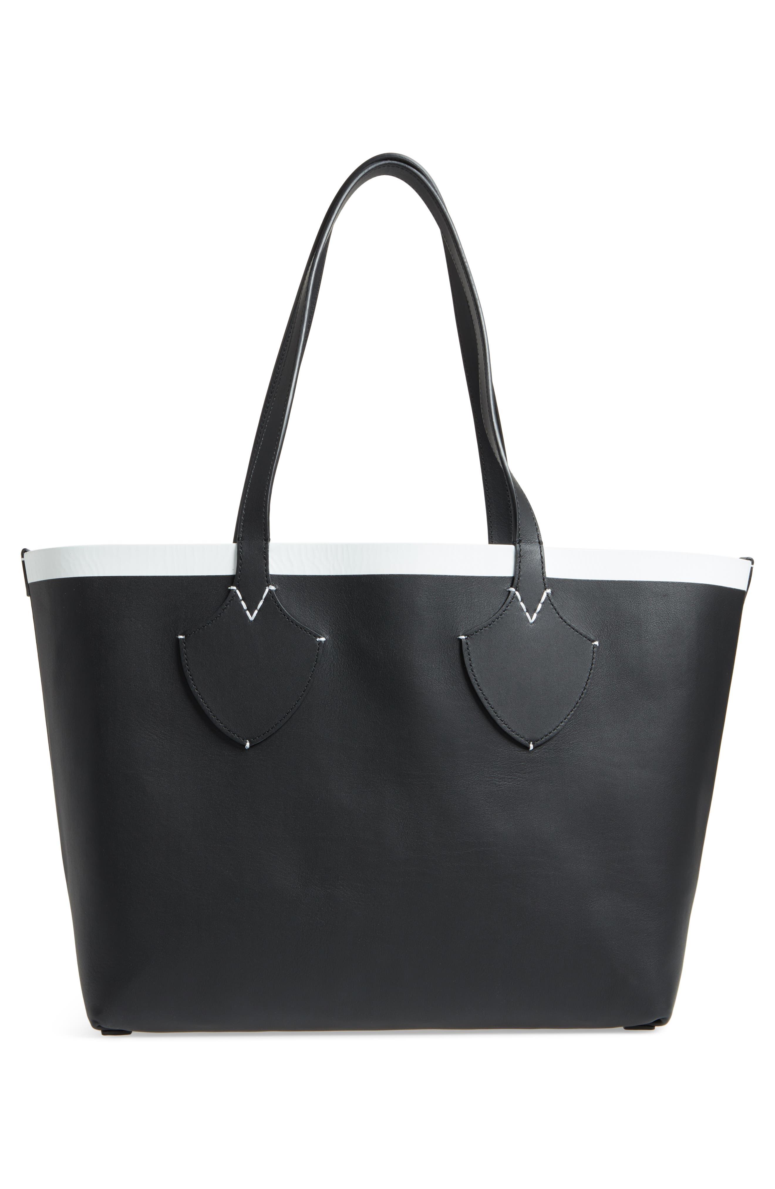Medium Reversible Leather & Check Canvas Tote,                             Alternate thumbnail 4, color,                             BLACK/ WHITE