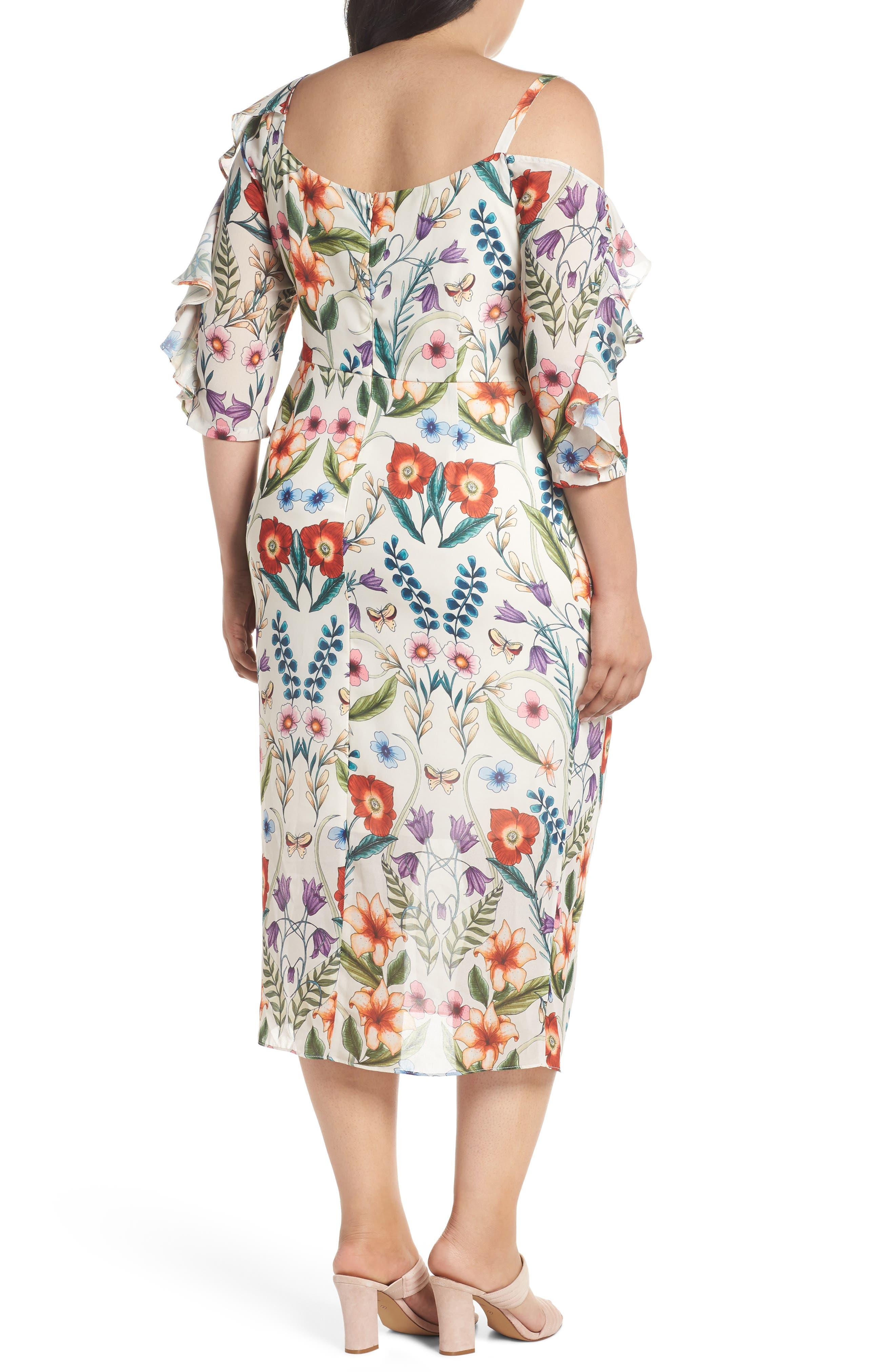 Gardenia Vintage Asymmetrical Dress,                             Alternate thumbnail 2, color,                             100
