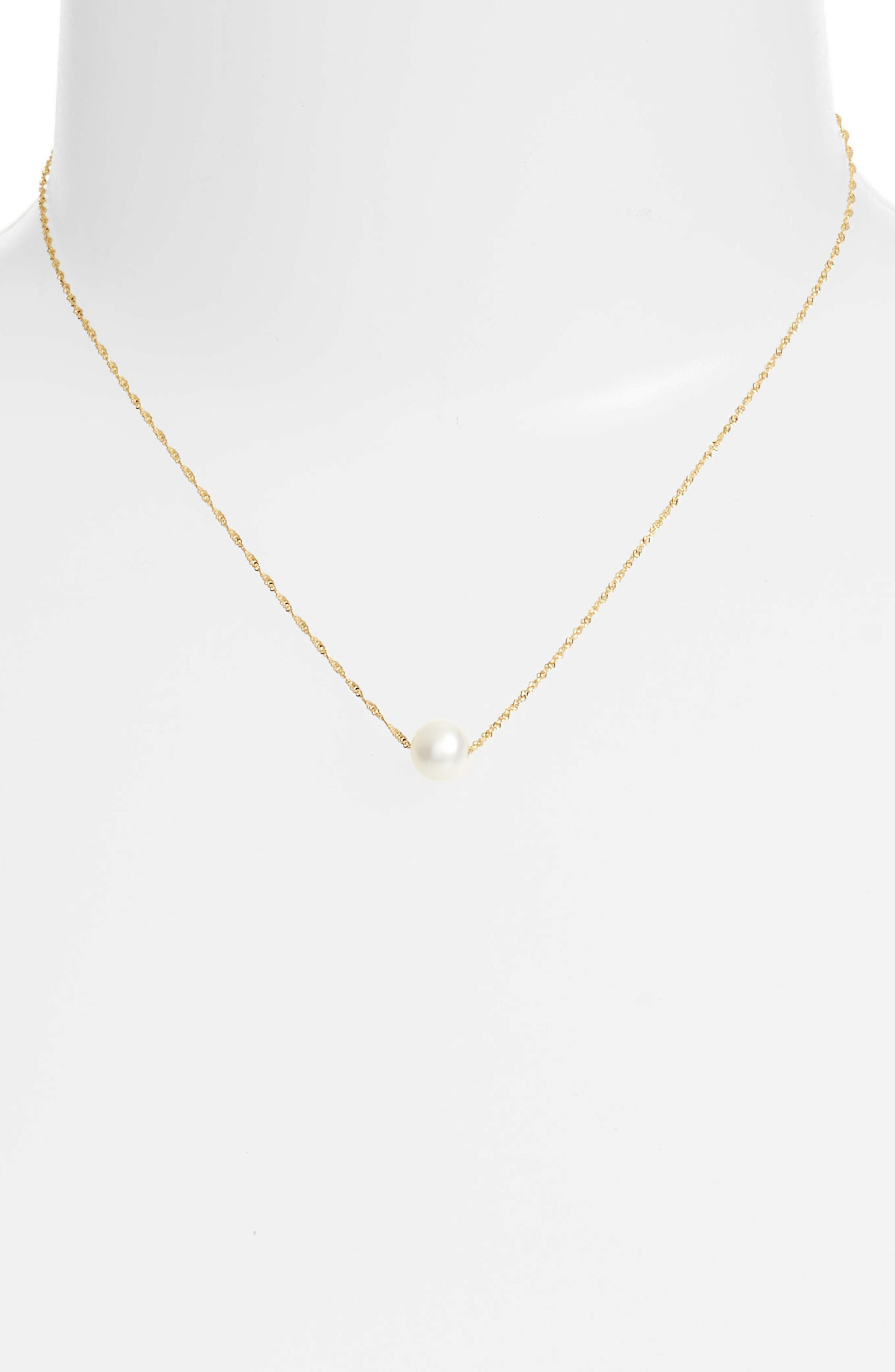 Petite Pearl Necklace,                             Alternate thumbnail 2, color,                             YELLOW GOLD/ PEARL