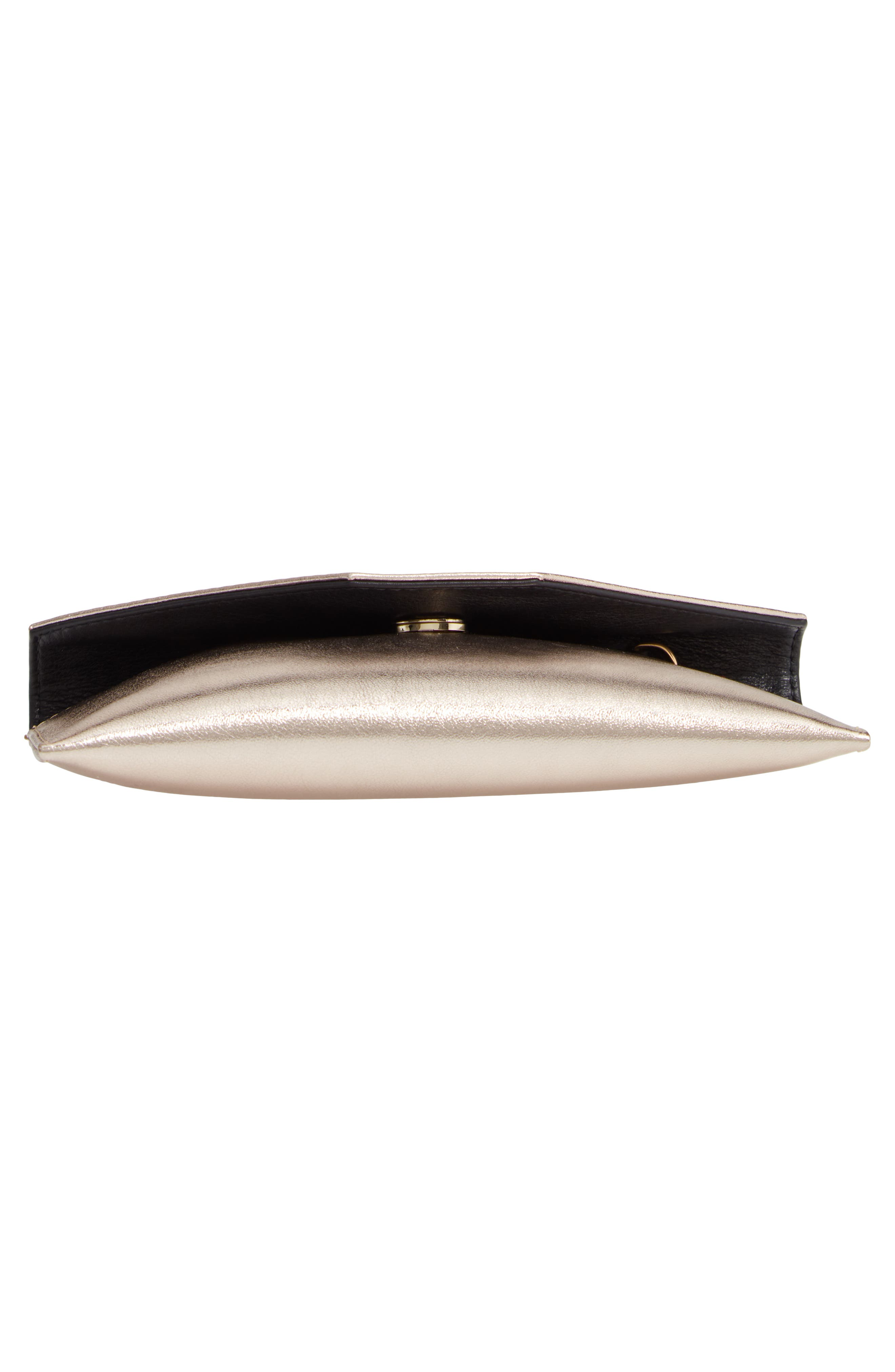 Annabelle Metallic Calfskin Leather Clutch,                             Alternate thumbnail 6, color,                             METALLIC GOLD/ GOLD