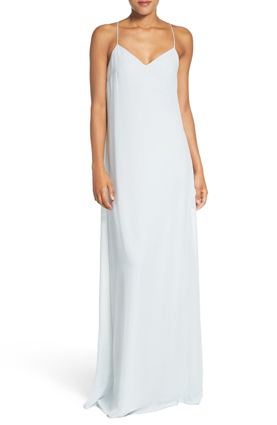 'Willa' V-Neck Trapeze Gown,                             Main thumbnail 1, color,                             451