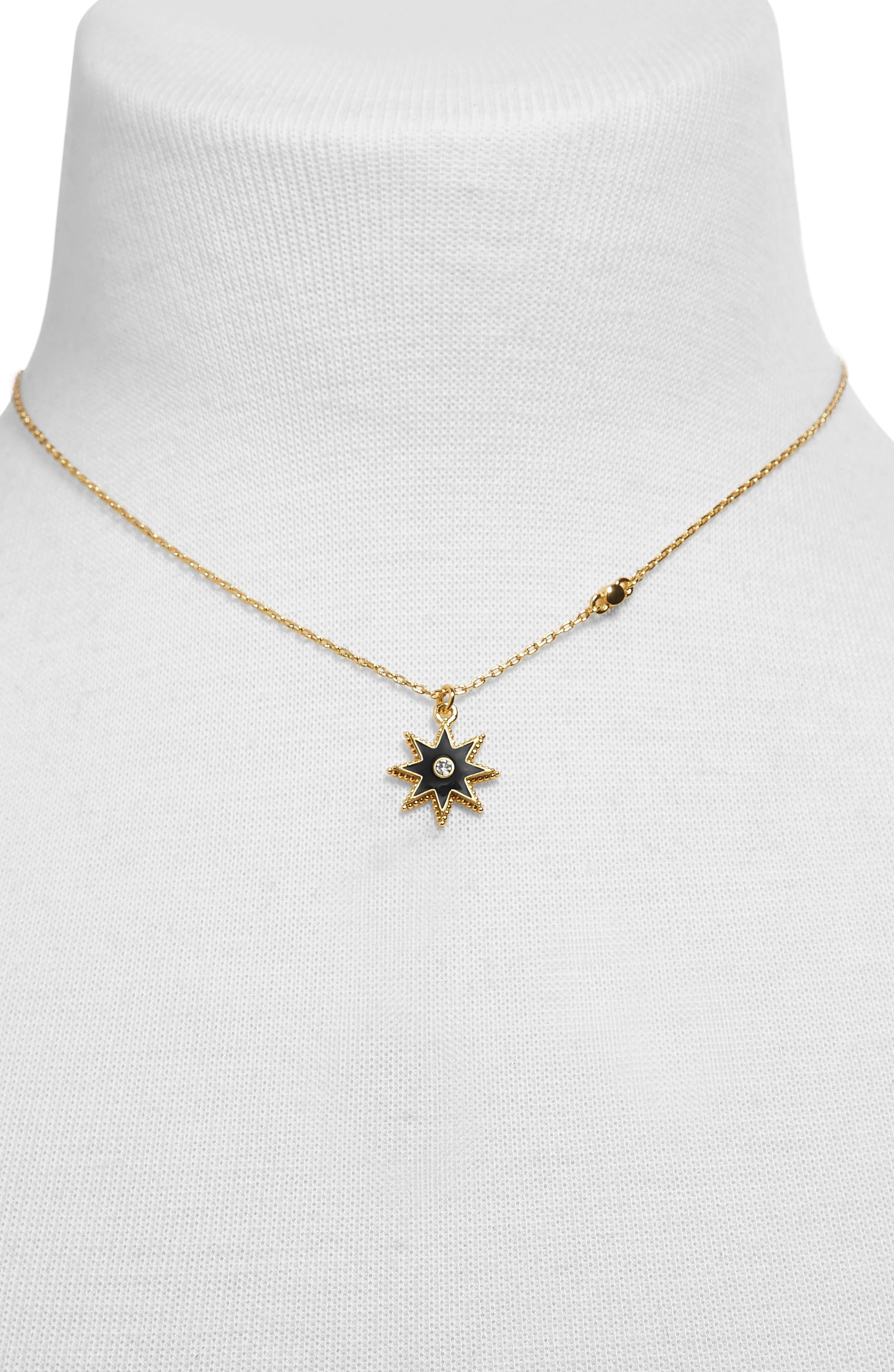 Merralina Star Pendant Necklace,                             Alternate thumbnail 2, color,                             GOLD/ BLACK