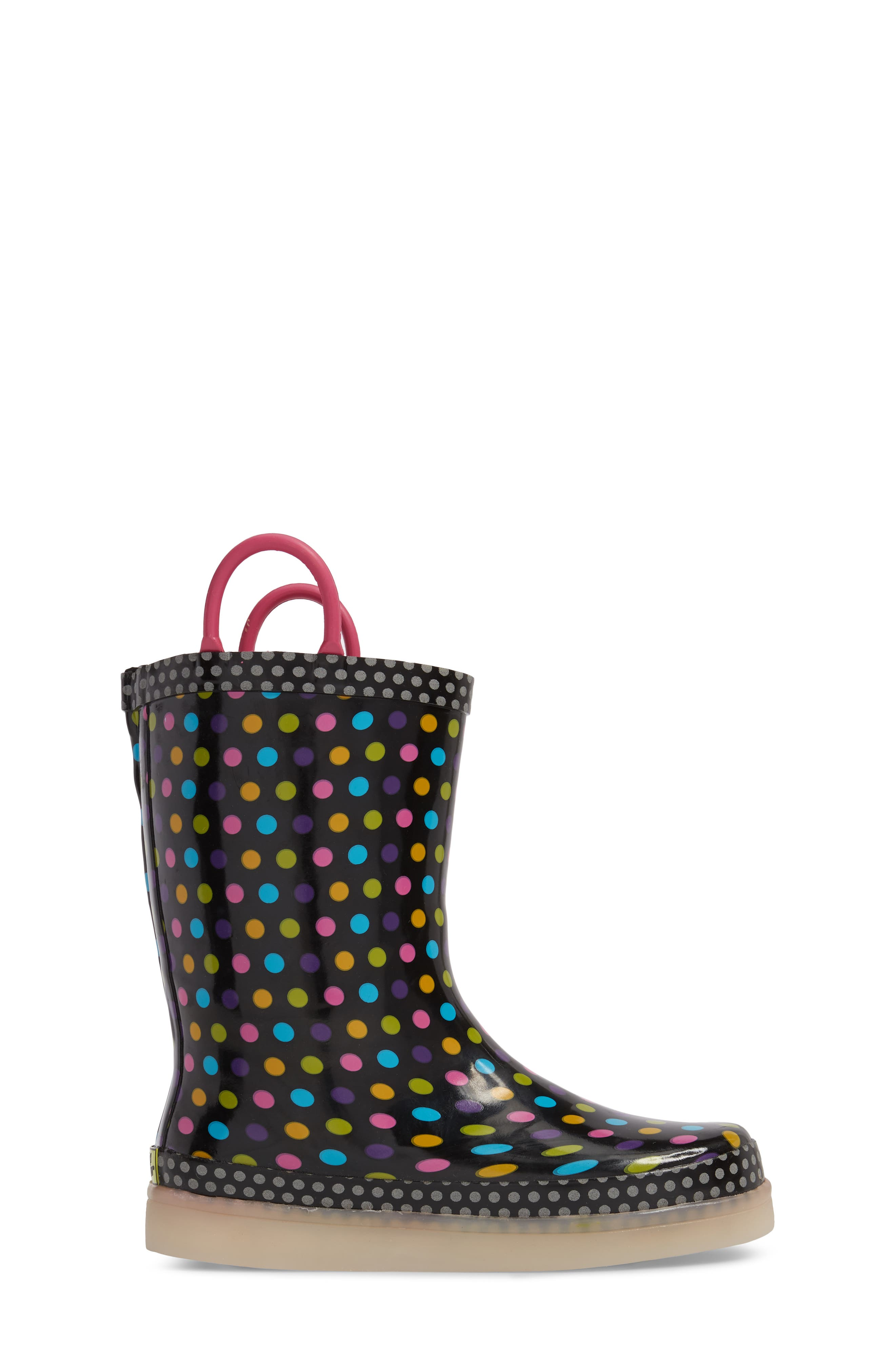 Digital Diva Dot LED Rain Boot,                             Alternate thumbnail 3, color,                             001