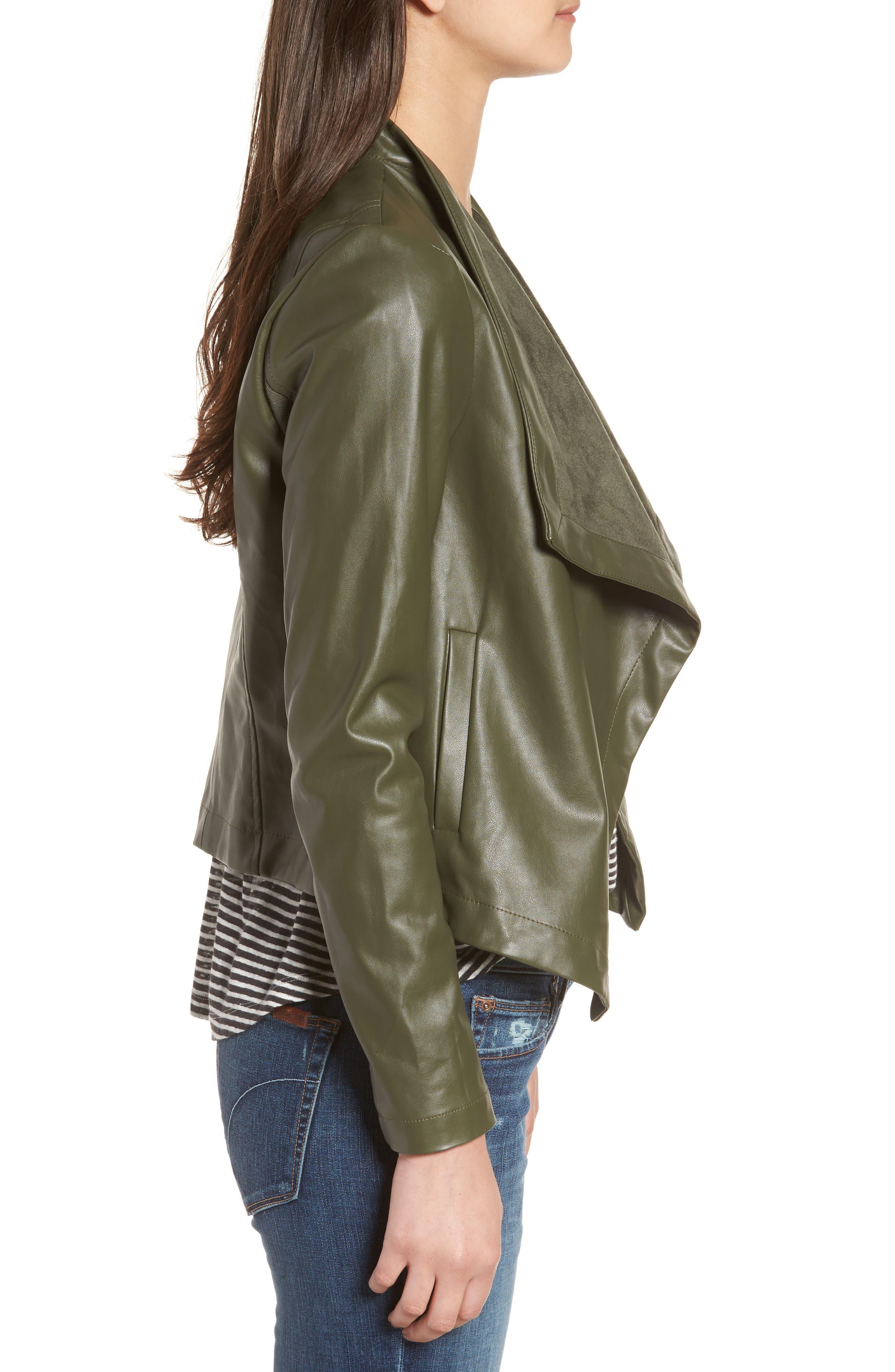 'Peppin' Drape Front Faux Leather Jacket,                             Alternate thumbnail 25, color,