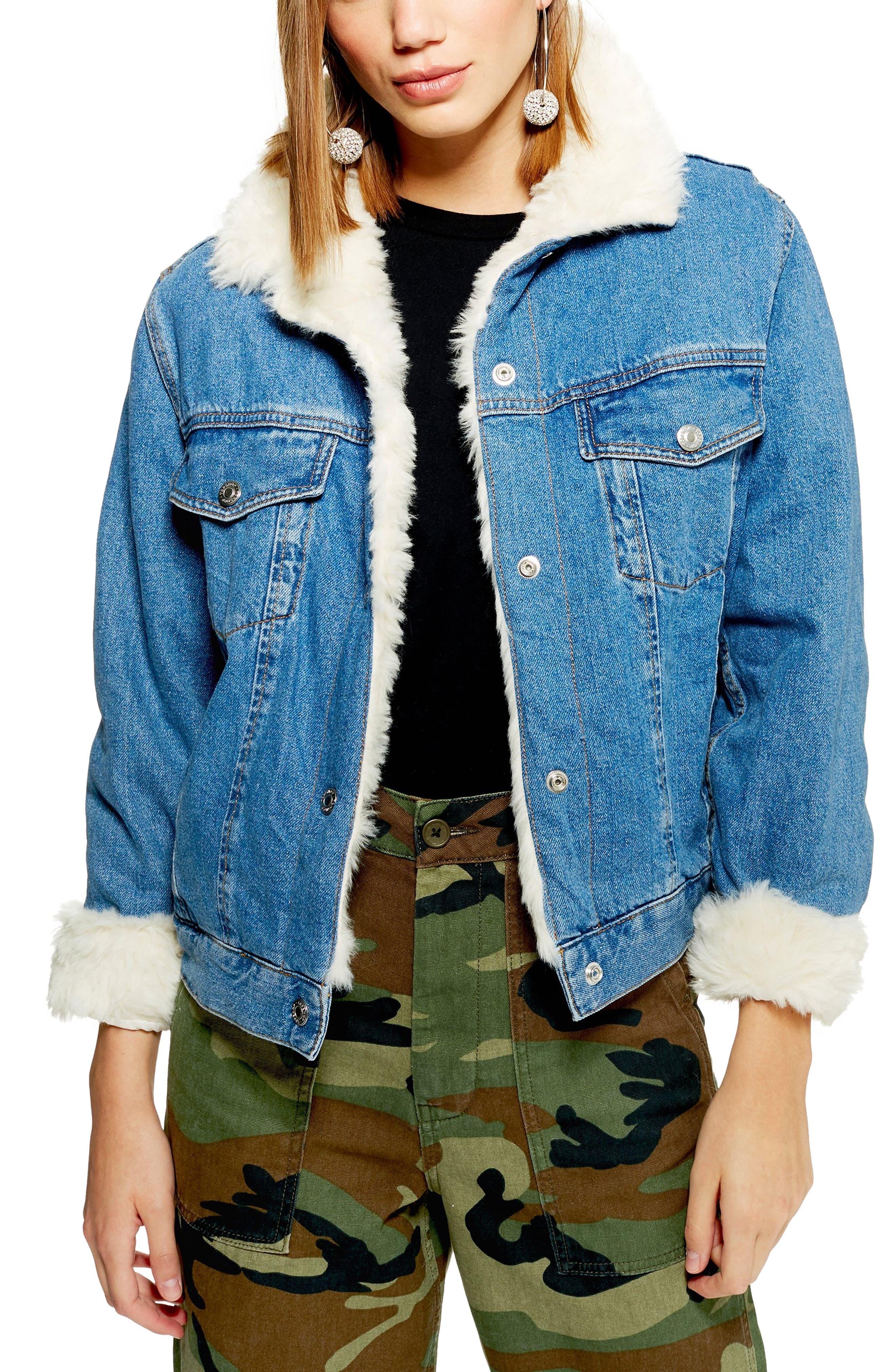 Faux Fur Denim Jacket,                             Main thumbnail 1, color,                             MID DENIM