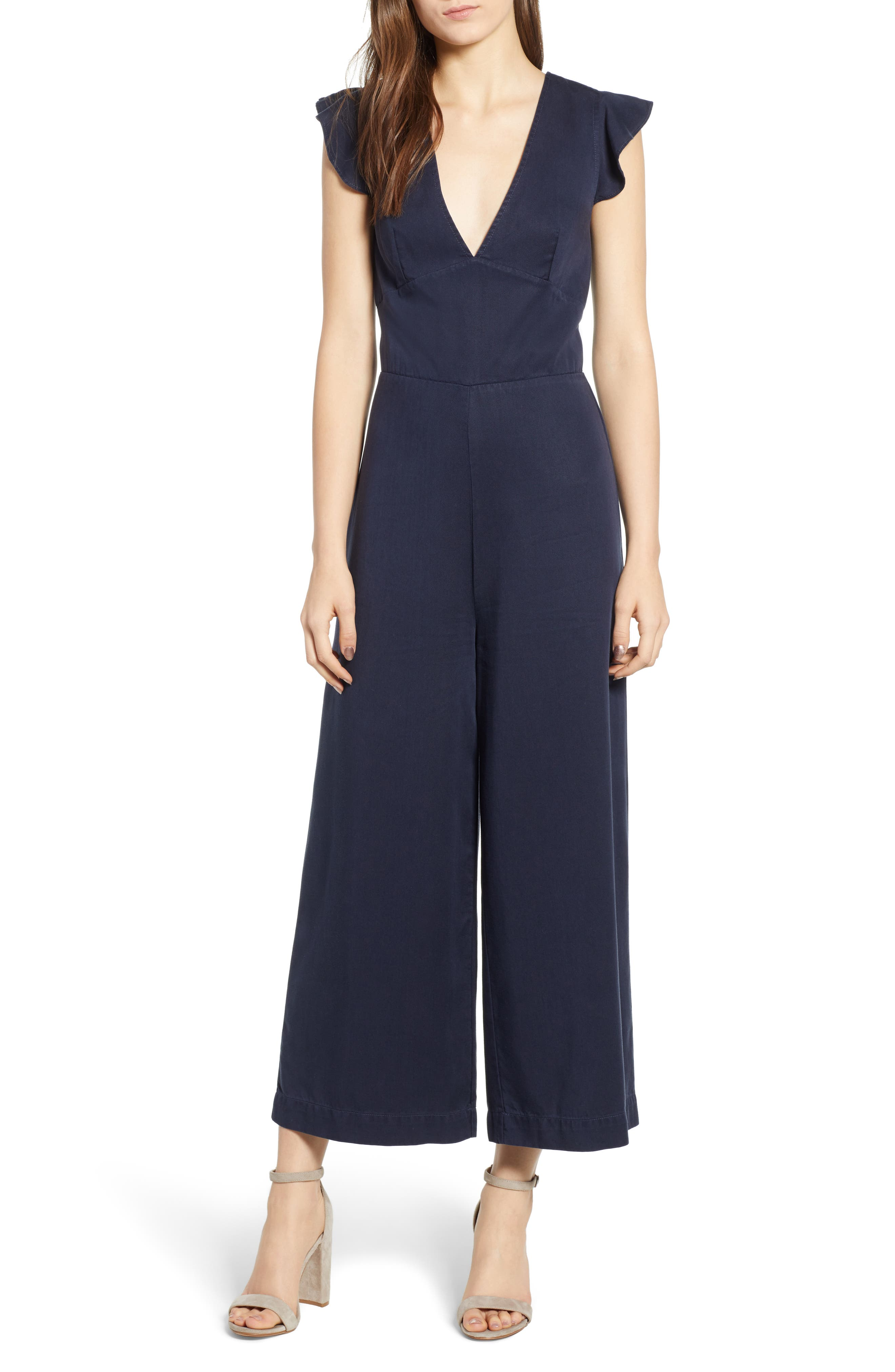 Ruffle Sleeve Jumpsuit,                             Main thumbnail 1, color,                             410