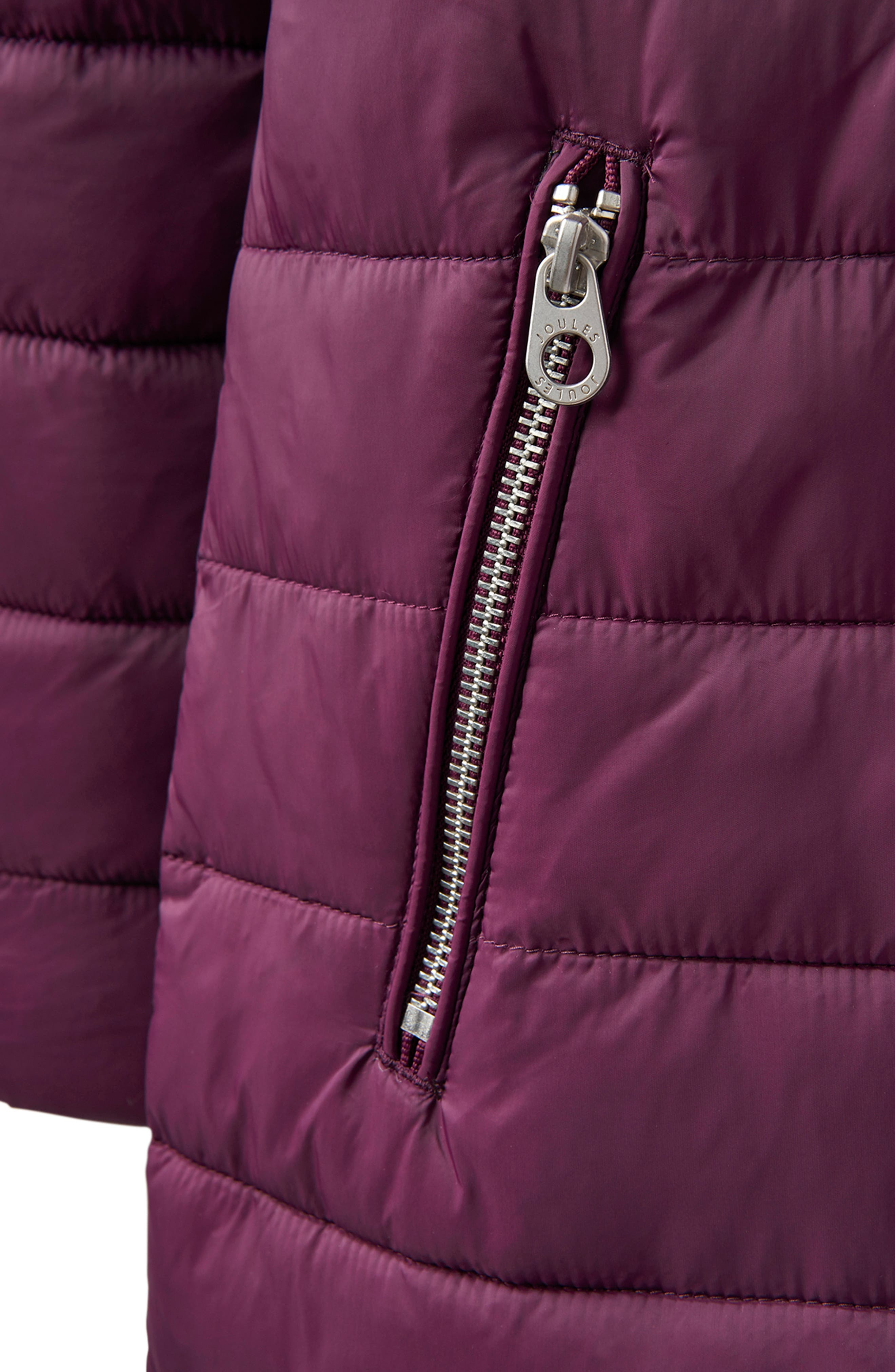 JOULES,                             Heathcote Two-Tone Puffer Jacket,                             Alternate thumbnail 8, color,                             BURGUNDY