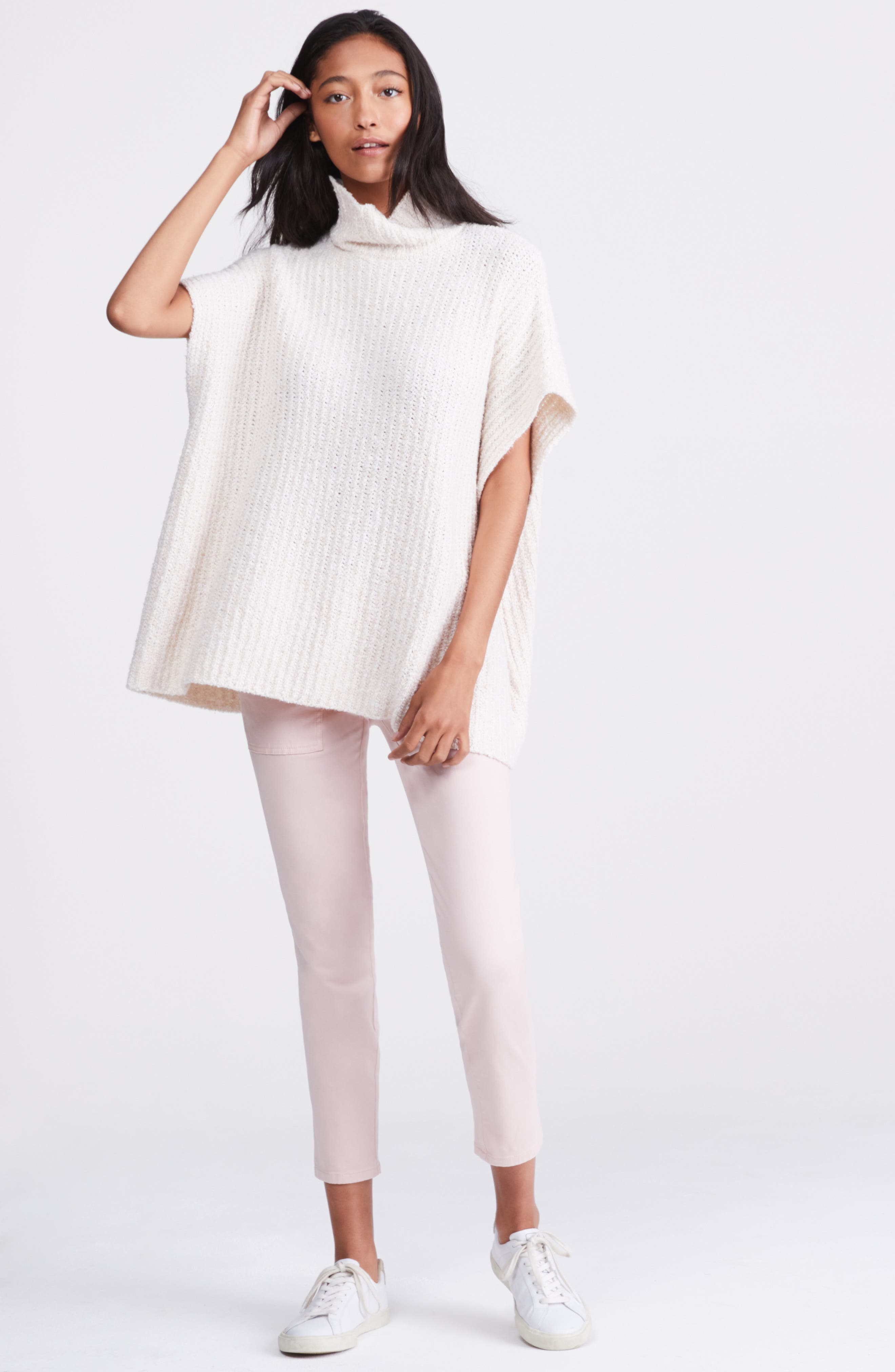 Ribbed Poncho Sweater,                             Alternate thumbnail 2, color,                             IVORY