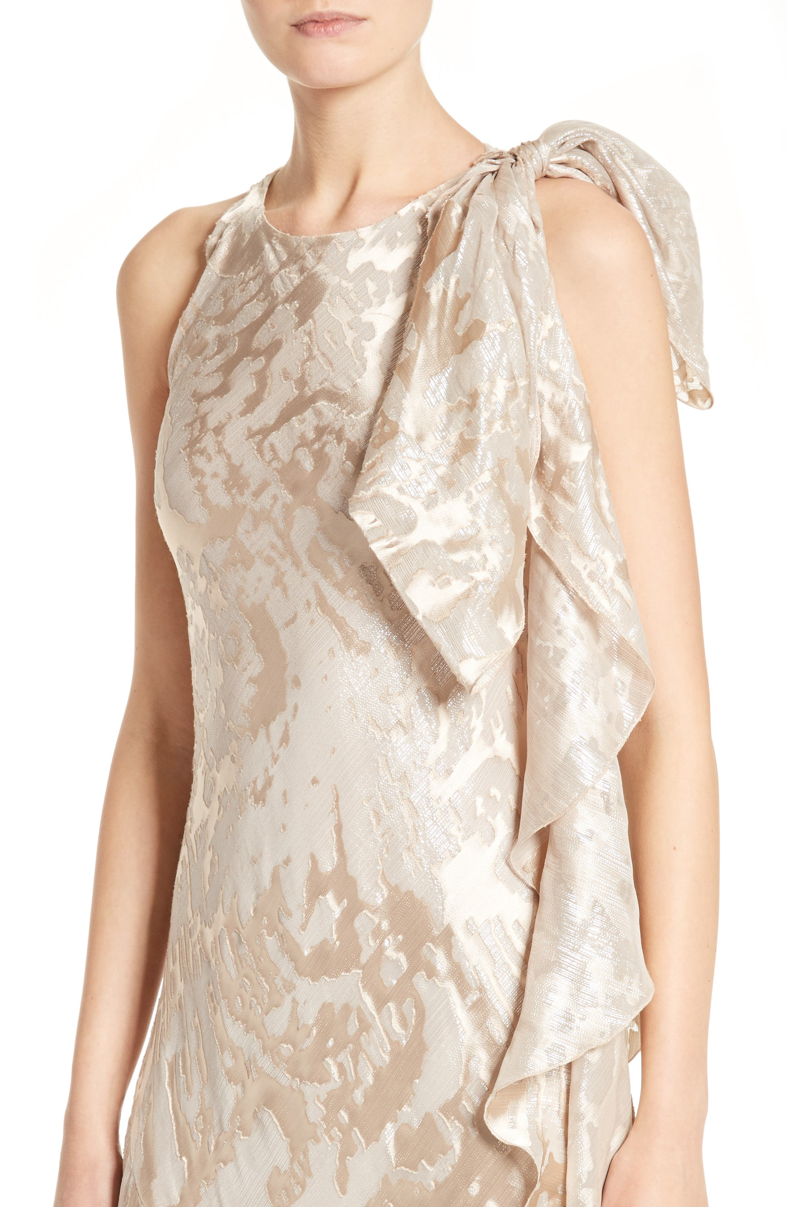 Metallic Burnout Jacquard Tie Shoulder Gown,                             Alternate thumbnail 4, color,                             250