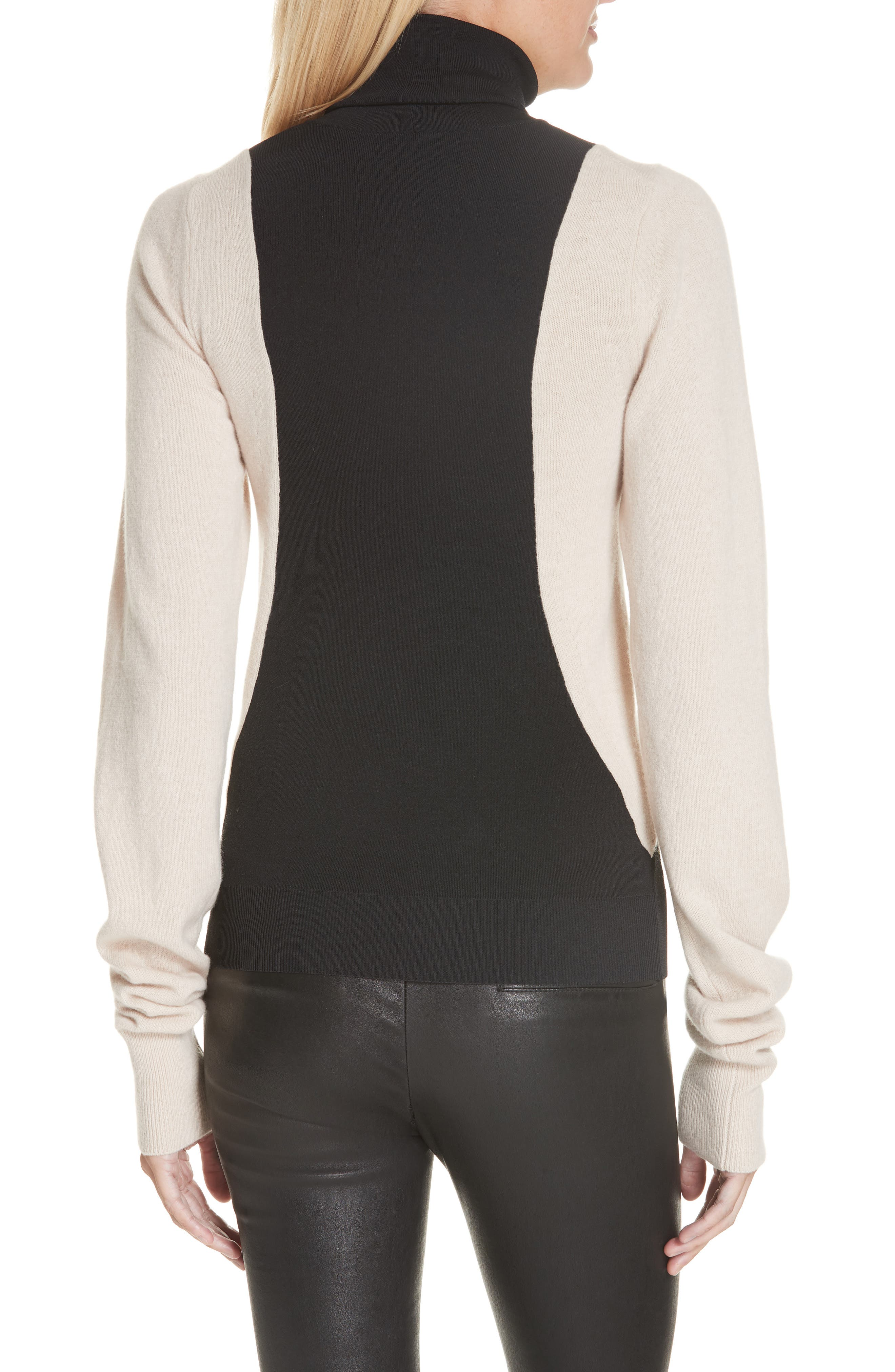Colorblock Wool Blend Turtleneck Sweater,                             Alternate thumbnail 2, color,                             BLACK/ NUT