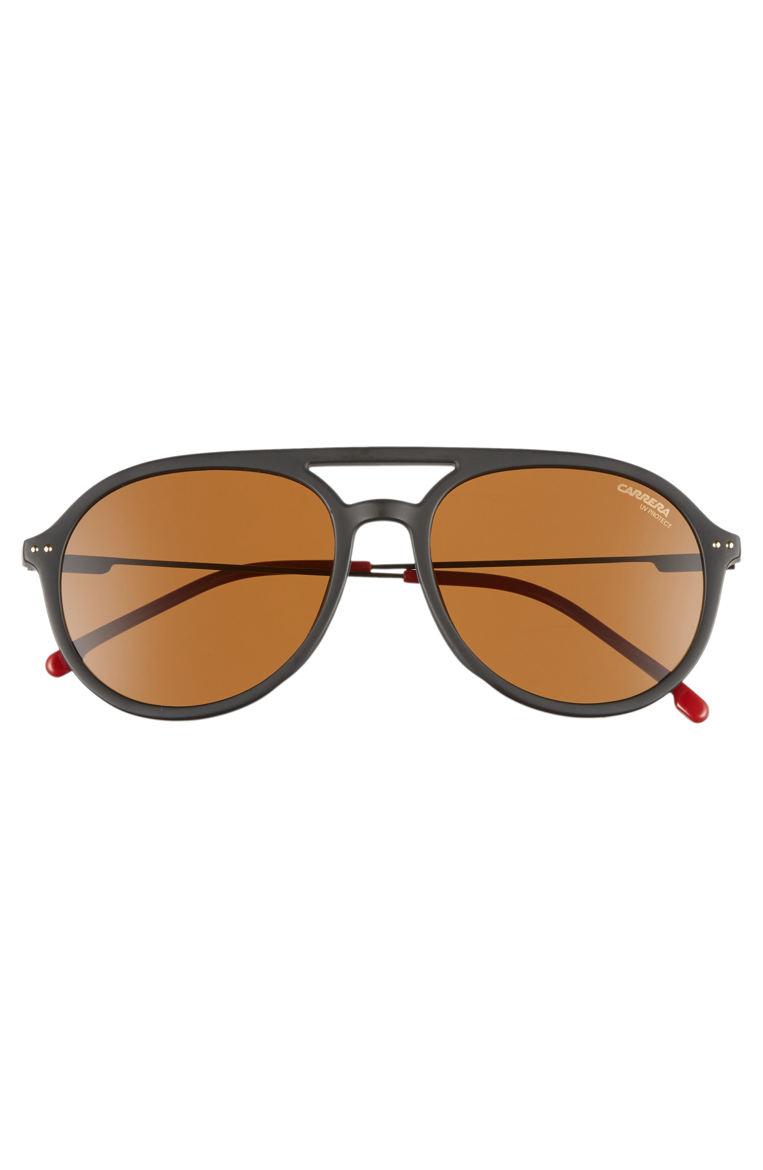 53mm Aviator Sunglasses,                             Alternate thumbnail 3, color,                             MATTE BLACK
