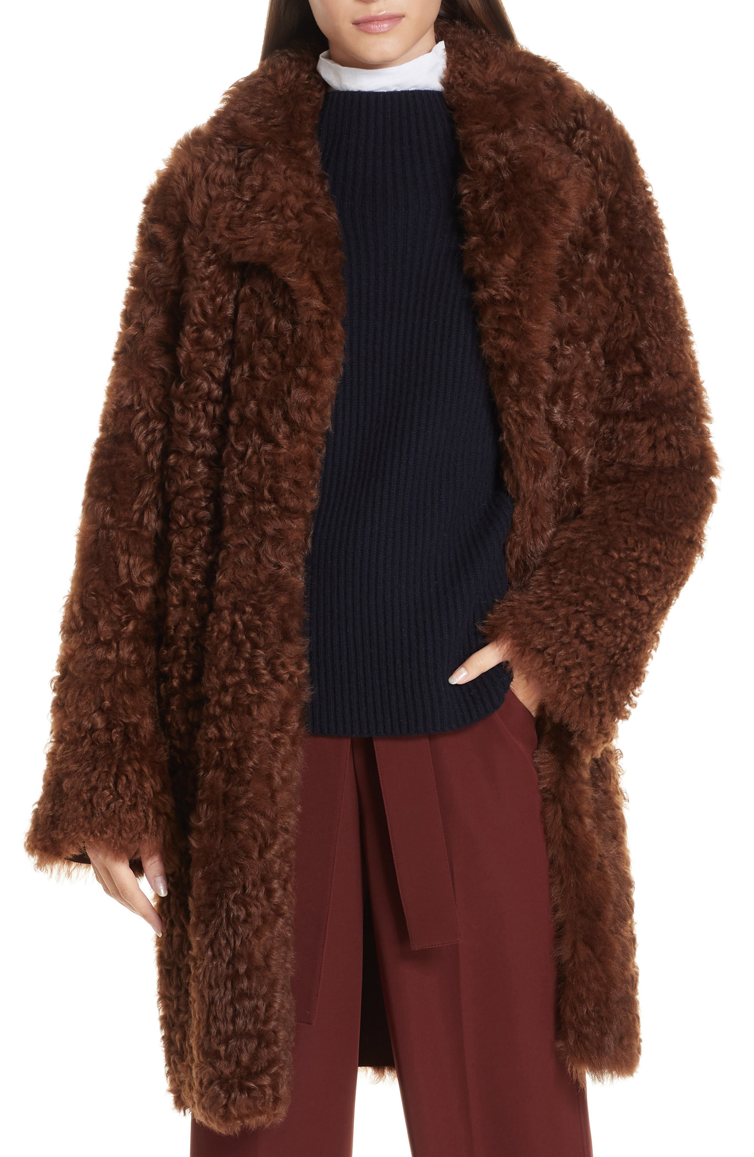 Vince Reversible Genuine Shearling Coat, Brown