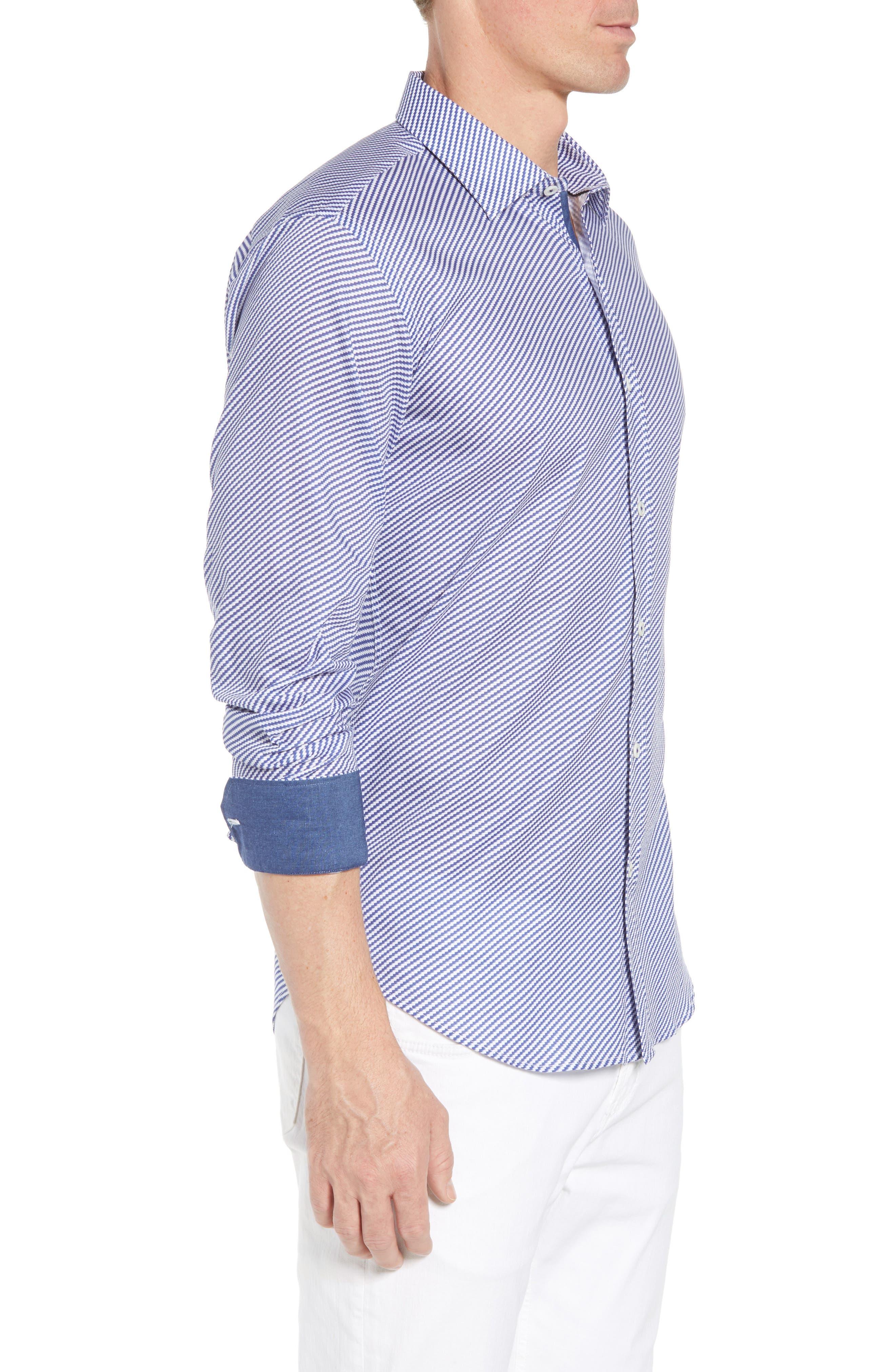 Shaped Fit Optic Print Sport Shirt,                             Alternate thumbnail 3, color,                             NAVY