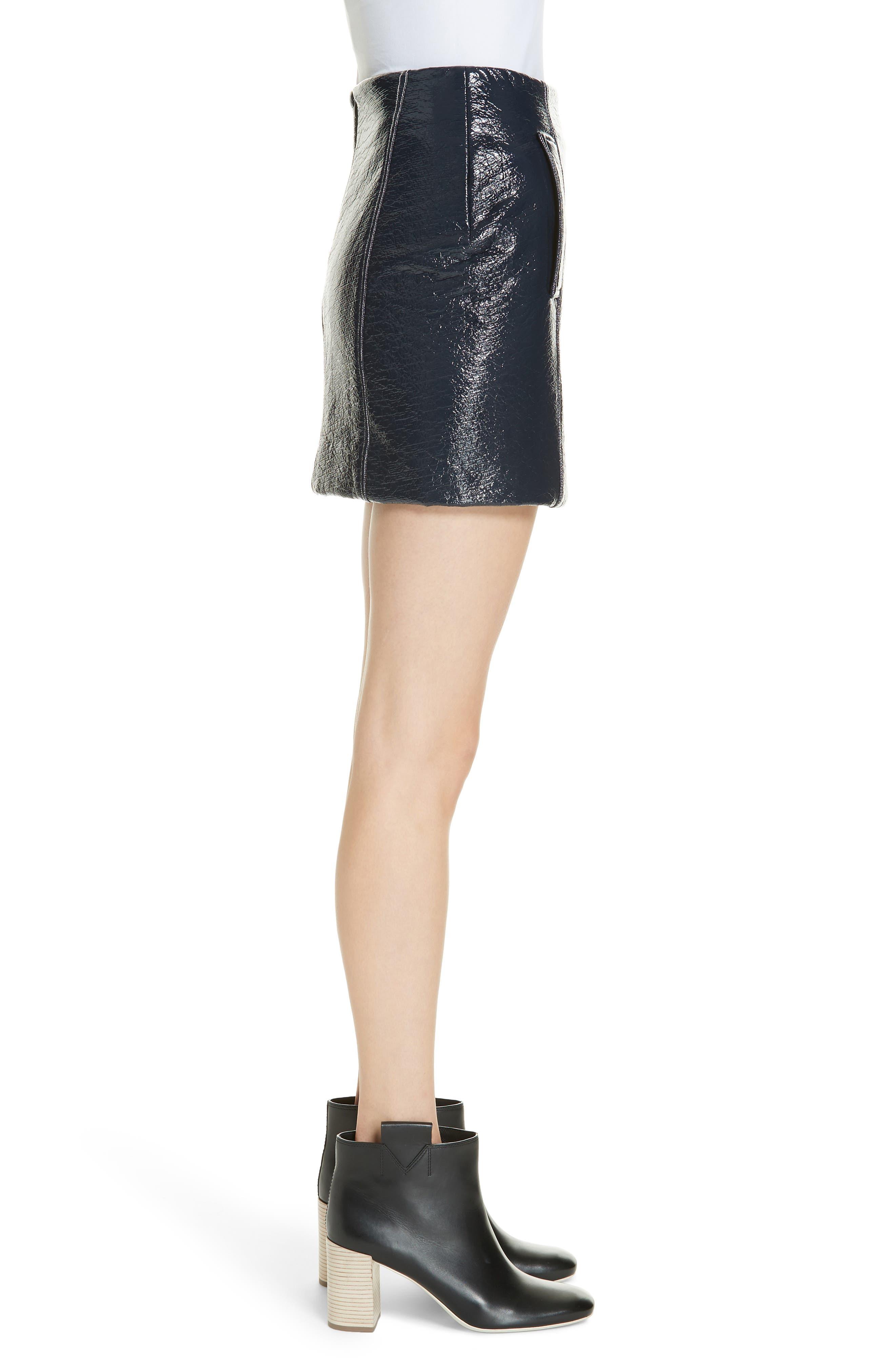 Vara Crinkle Faux Patent Leather Miniskirt,                             Alternate thumbnail 3, color,                             400