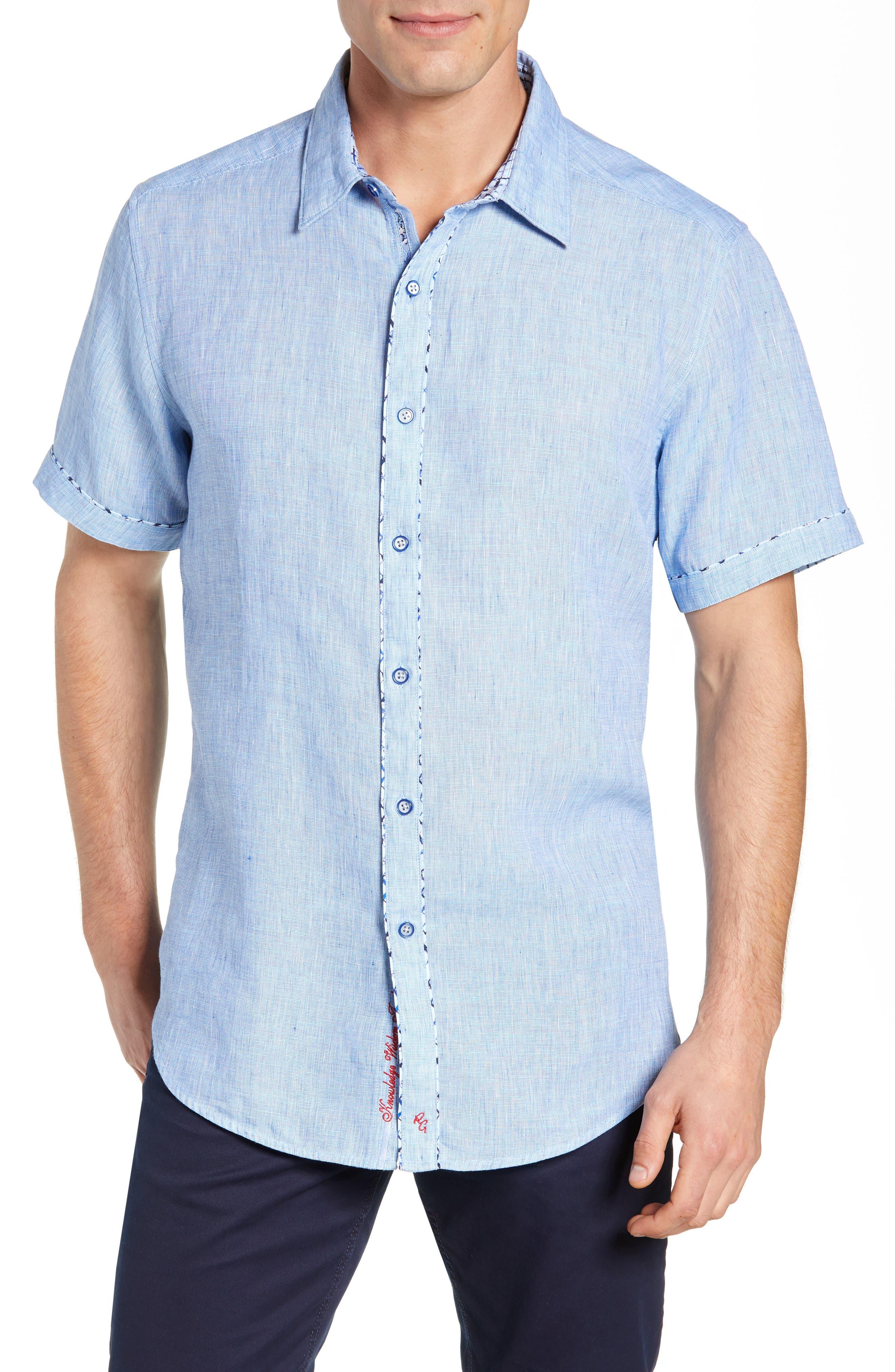 Gills Classic Fit Linen Sport Shirt,                         Main,                         color, LIGHT BLUE