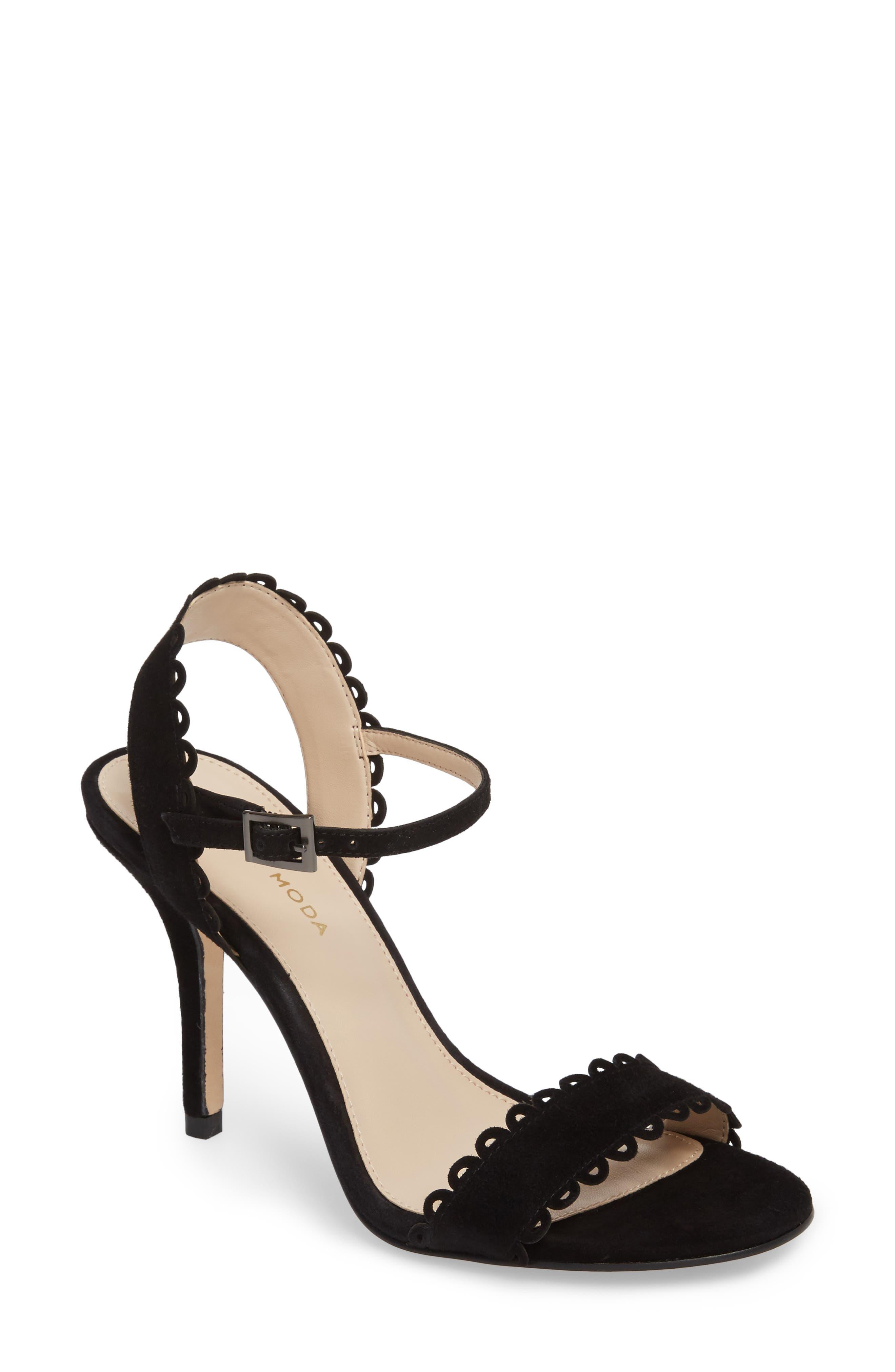 Karen Scallop Ankle Strap Sandal,                         Main,                         color,