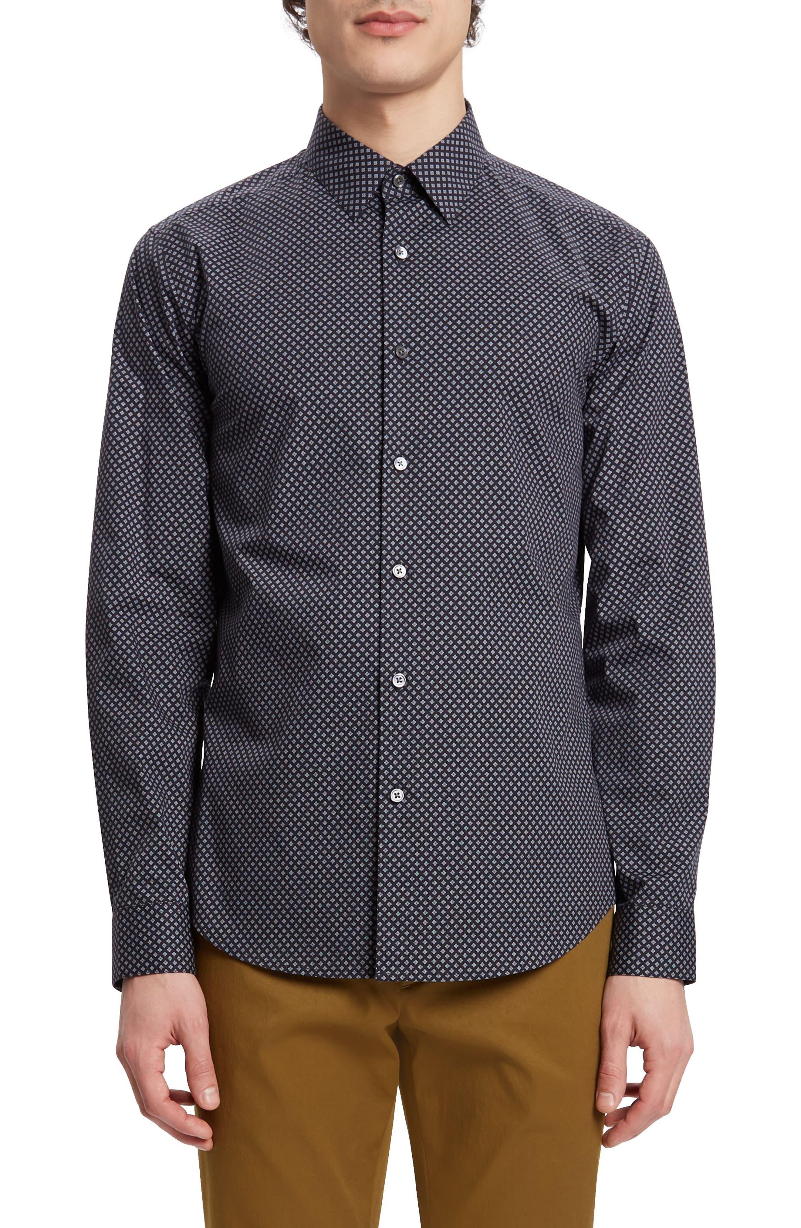Sylvain Kessler Patterned Sport Shirt,                         Main,                         color, BLACK MULTI