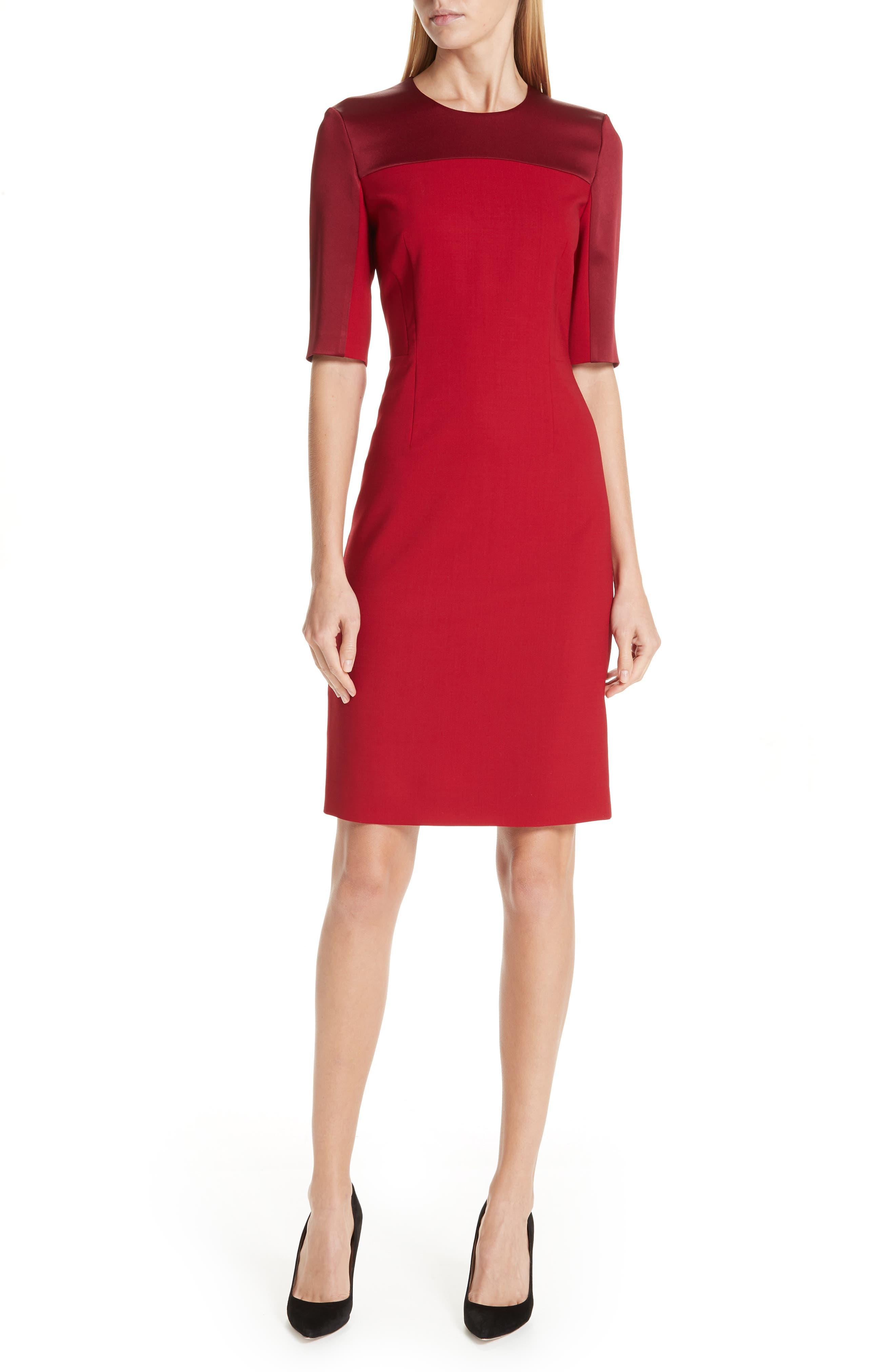 Danufa Stretch Wool Sheath Dress,                         Main,                         color, DARK RED