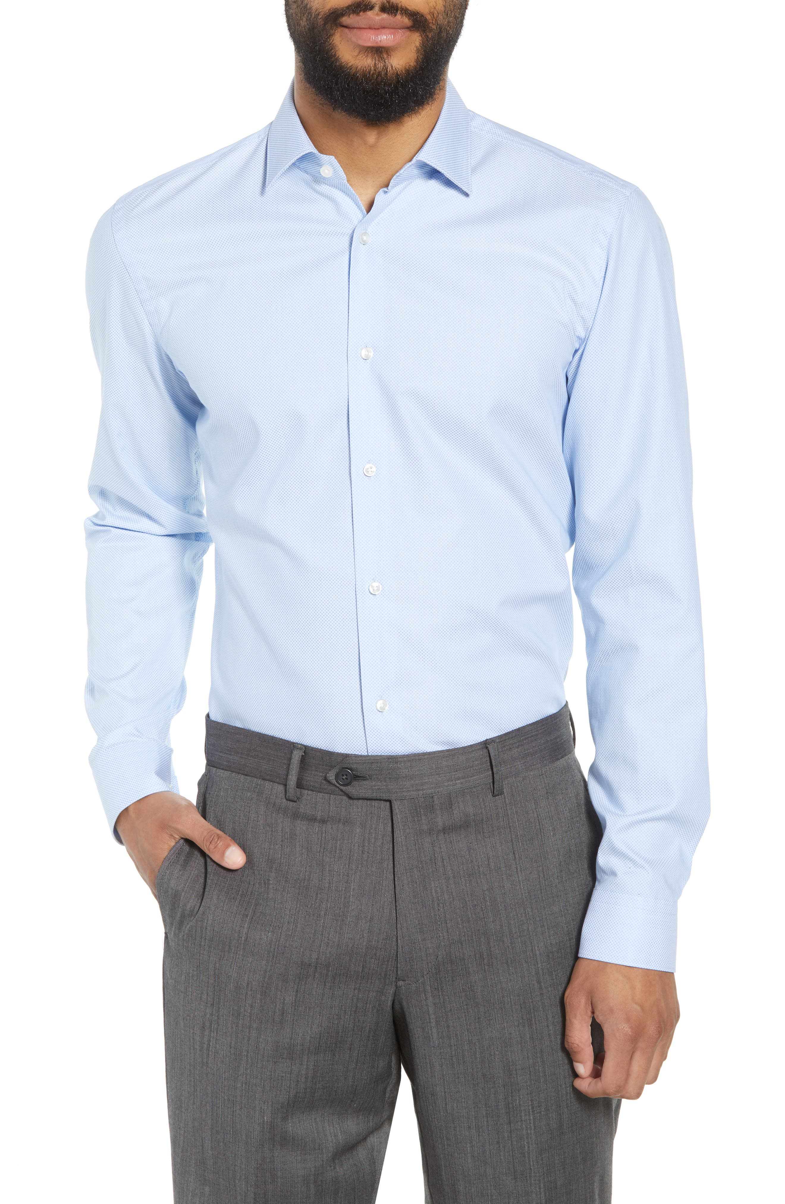 Ismo Slim Fit Dot Dress Shirt,                             Main thumbnail 1, color,                             450