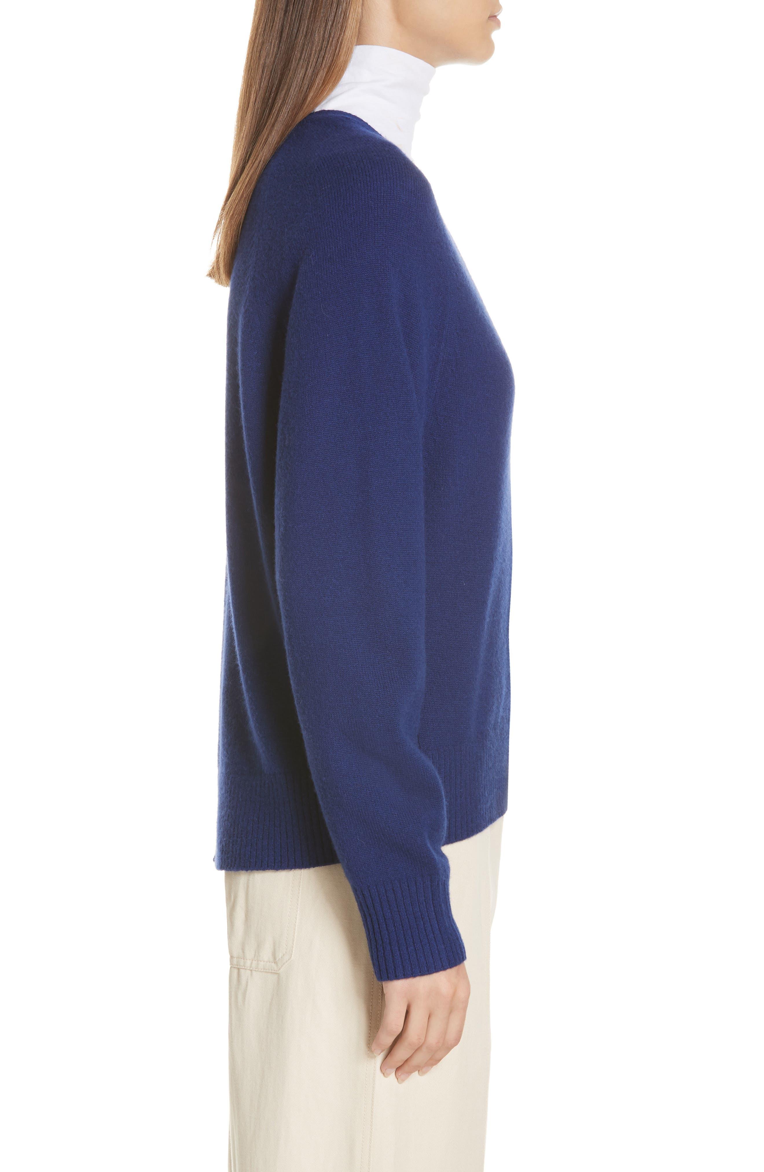 Deep V-Neck Cashmere Sweater,                             Alternate thumbnail 3, color,                             INK