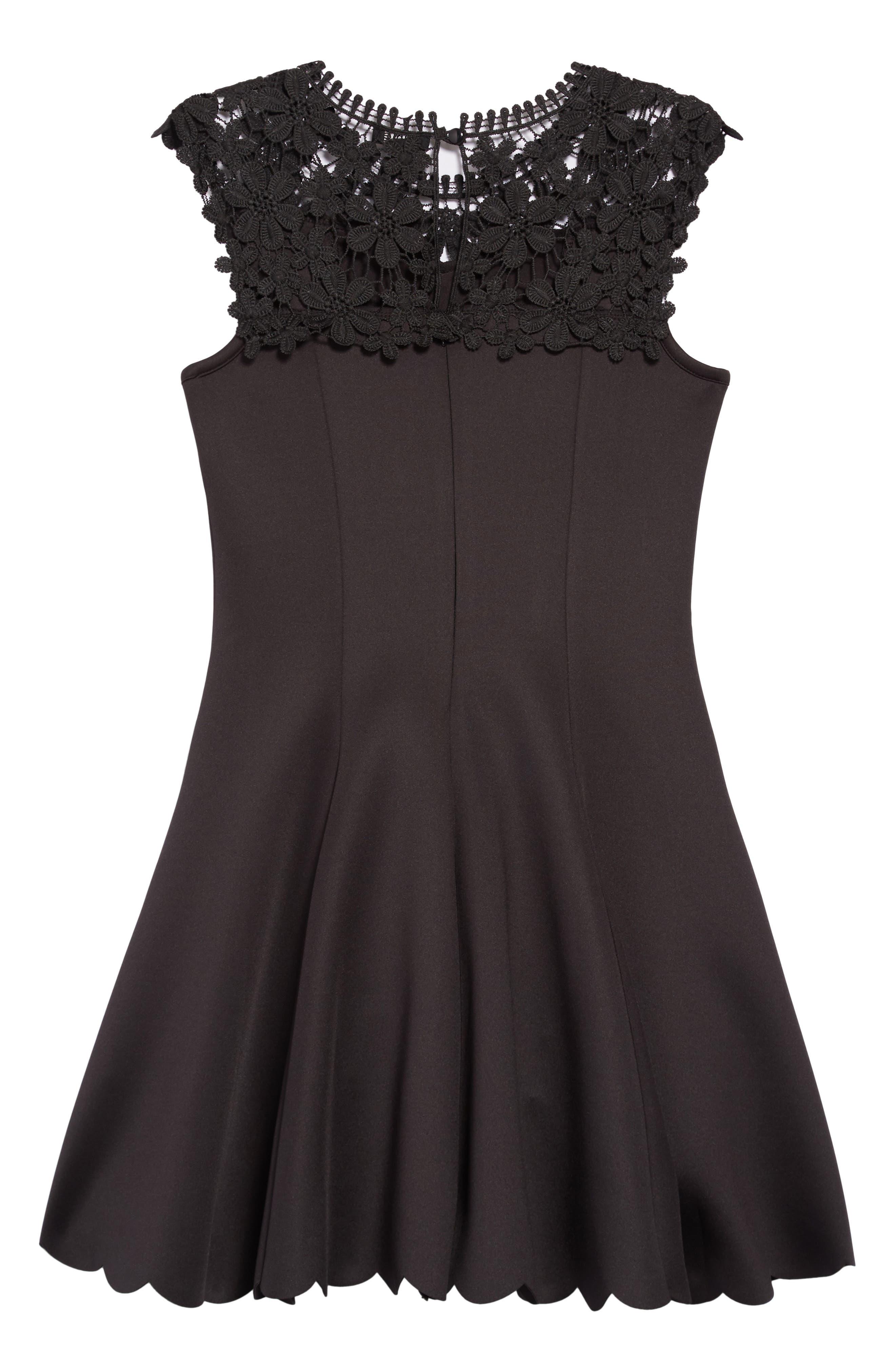 Floral Lace Skater Dress,                             Alternate thumbnail 2, color,                             BLACK