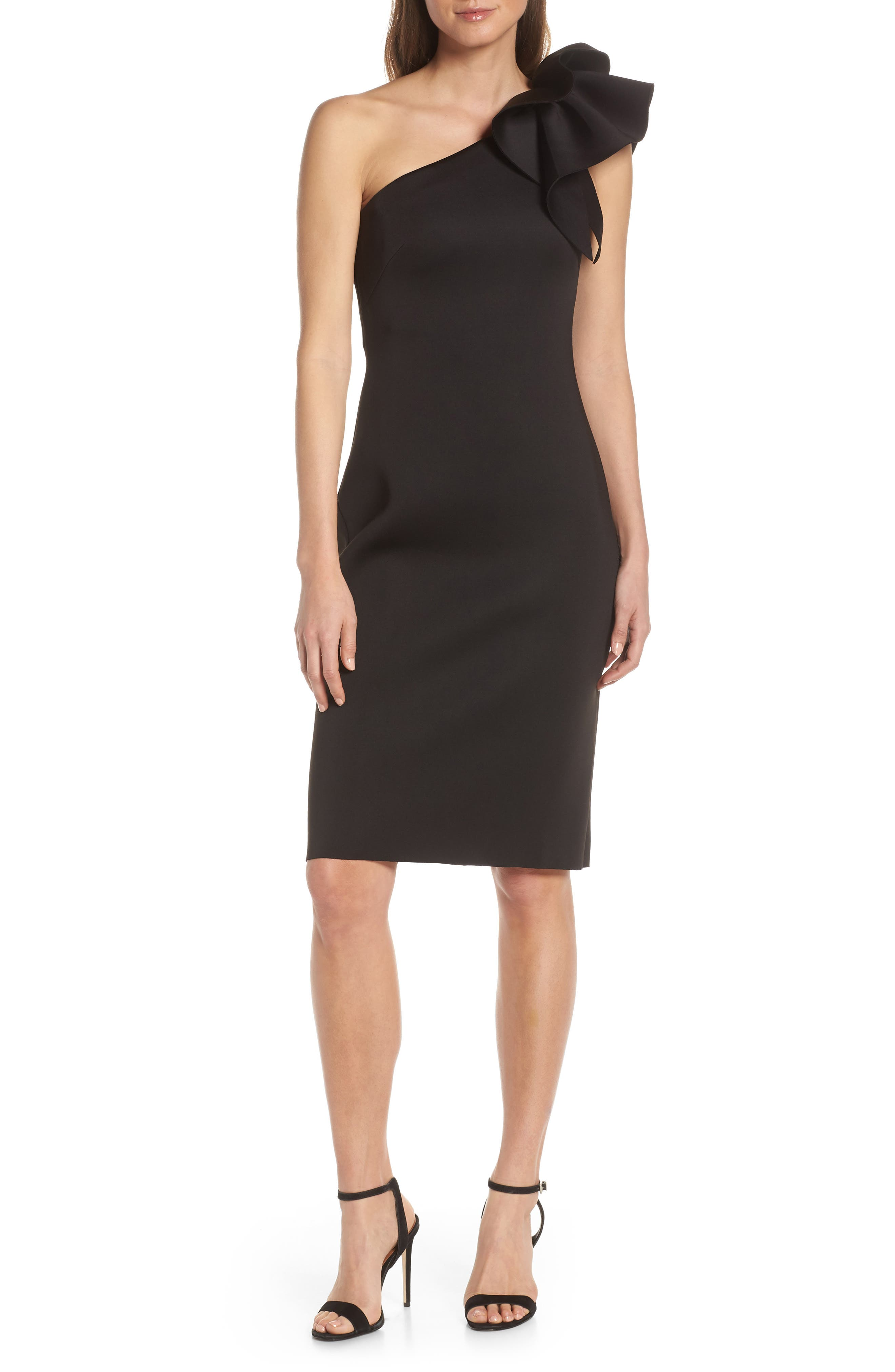 Eliza J One-Shoulder Ruffle Sheath Cocktail Dress, 8 (similar to 1) - Black